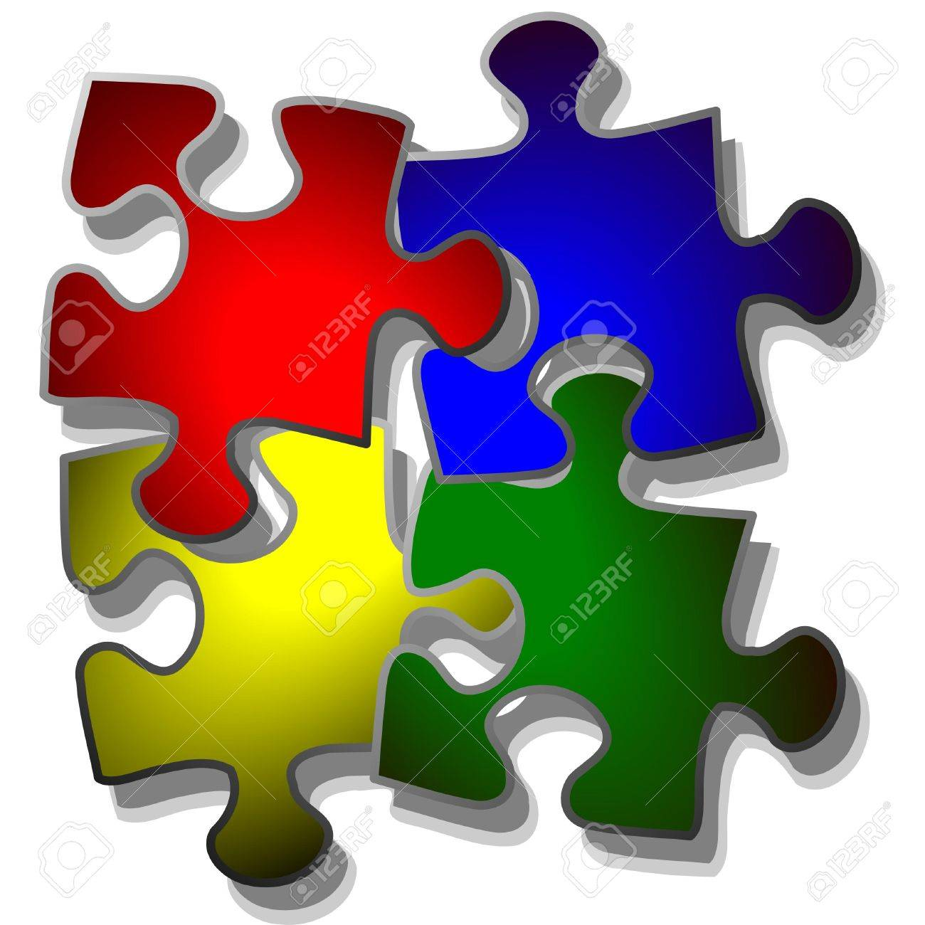 jigsaw puzzle in four colors Stock Vector - 4382401