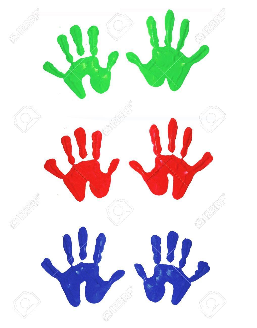 Mehrfarbige Finger Gemalt Handabdrücke Von Kindern Lizenzfreie Fotos ...
