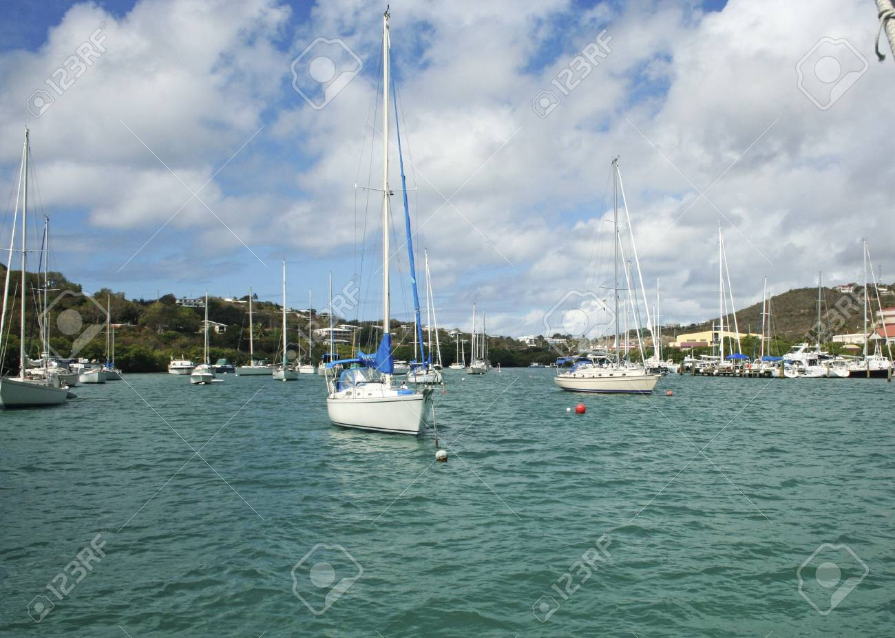 The harbor of a beautiful tropical island filled with sailboats in St. Thomas Virgin Islands Stock Photo - 2987164