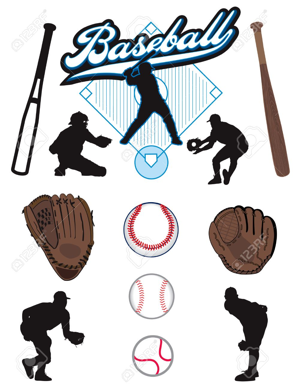A collection of illustrated baseball elements. Batts, balls, athletes, mitts or gloves Stock Vector - 6725556