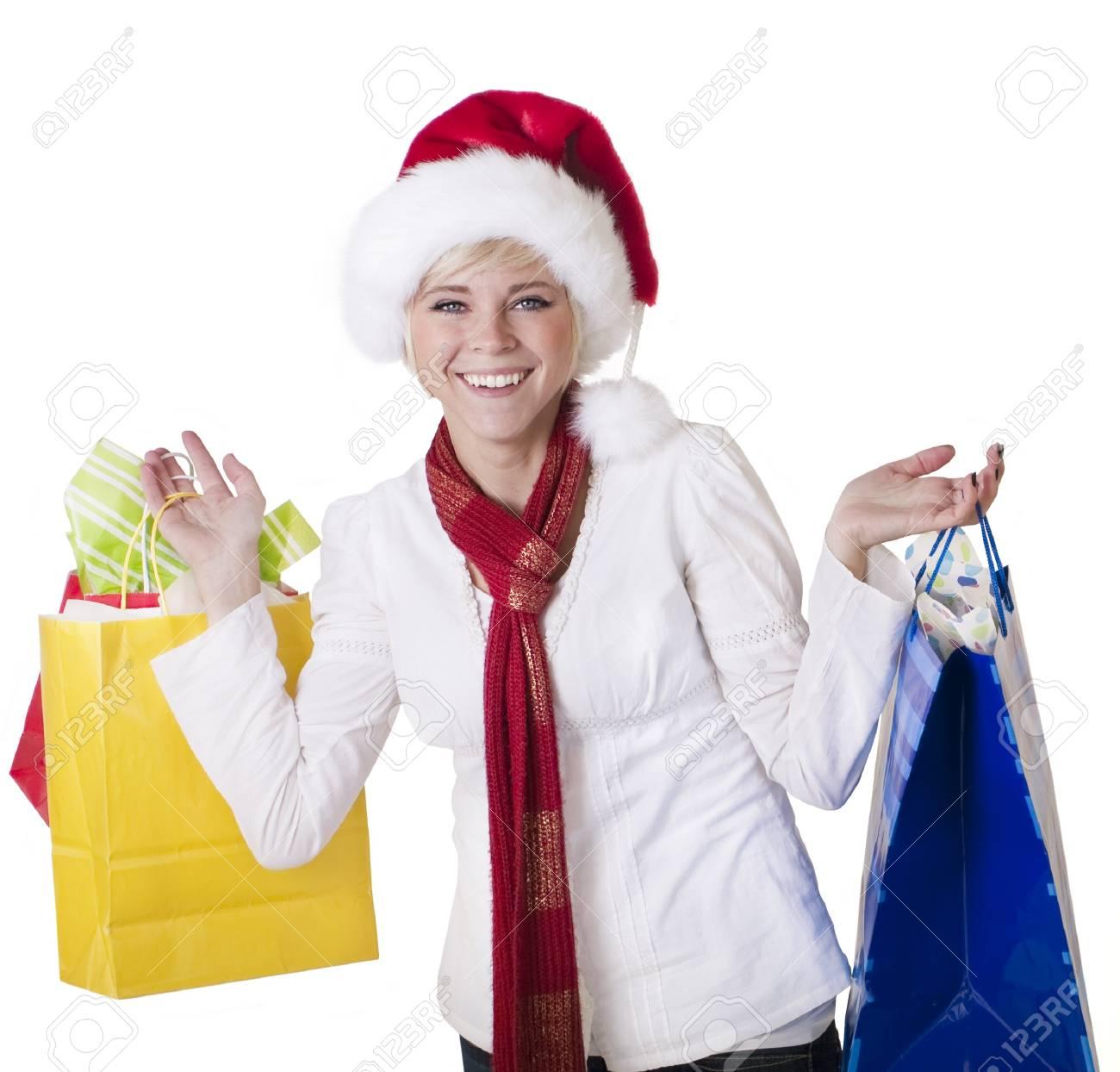 Beautiful Woman Doing her Christmas Shopping Stock Photo - 9785324