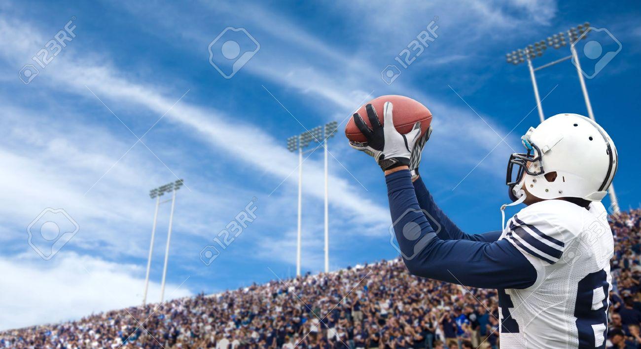 Football Player catching a touchdown pass - 10420492