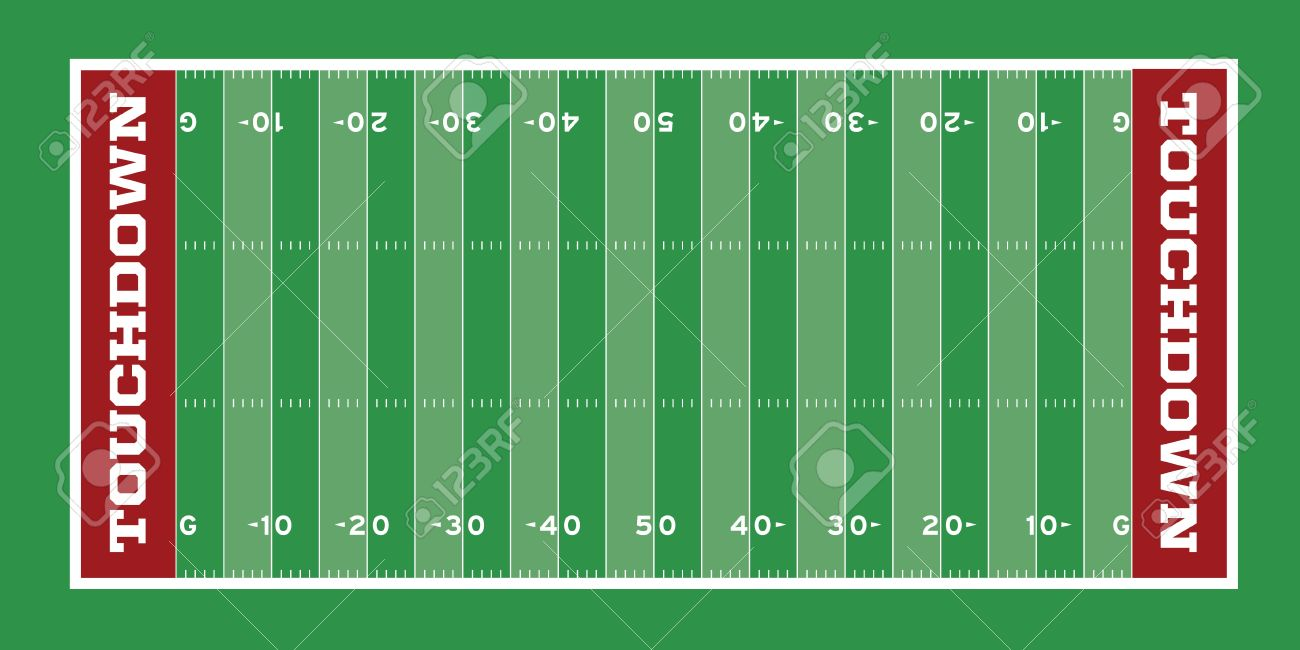 vector football field with hash marks and yard lines royalty free