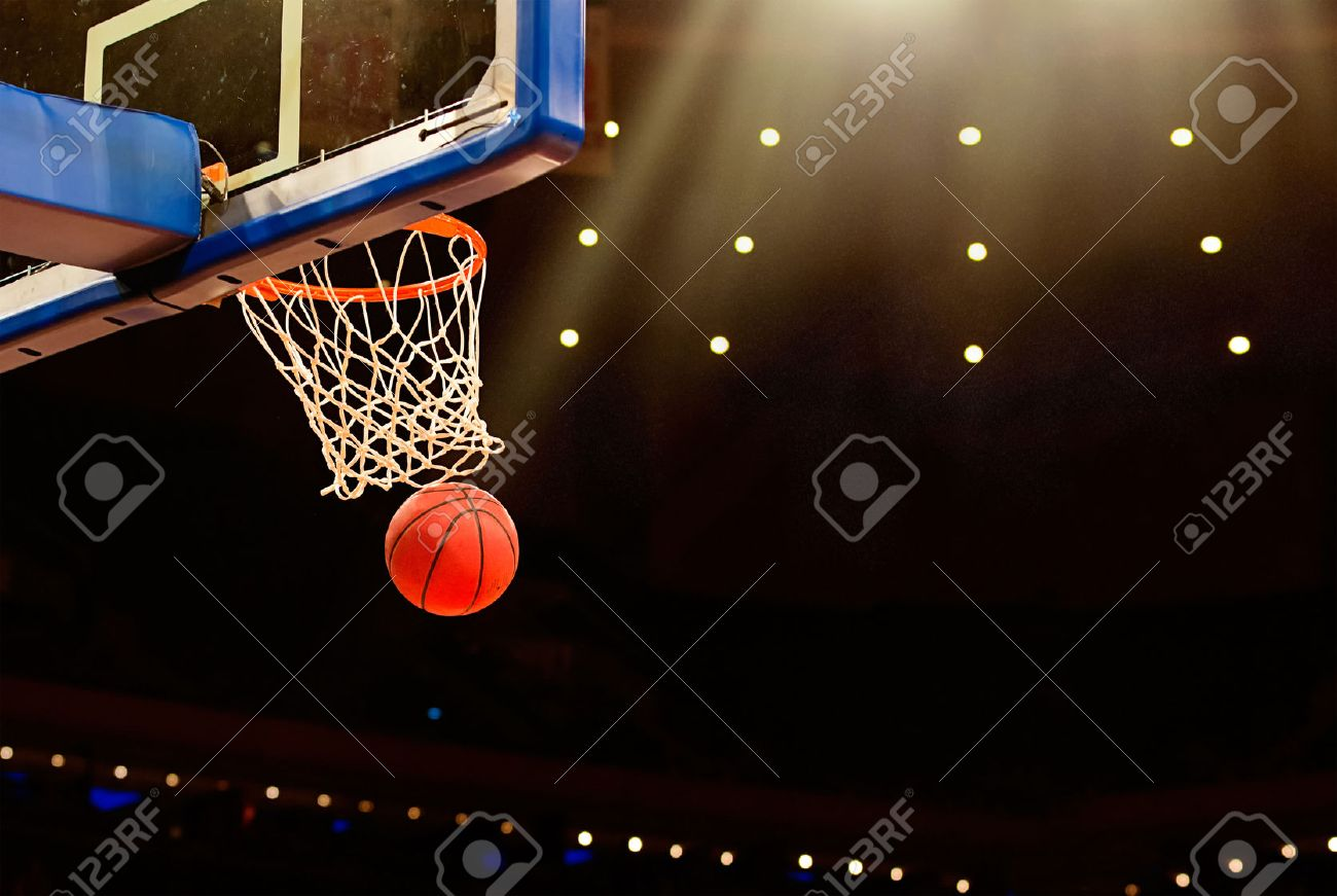 basketball basket with all going through net stock photo picture