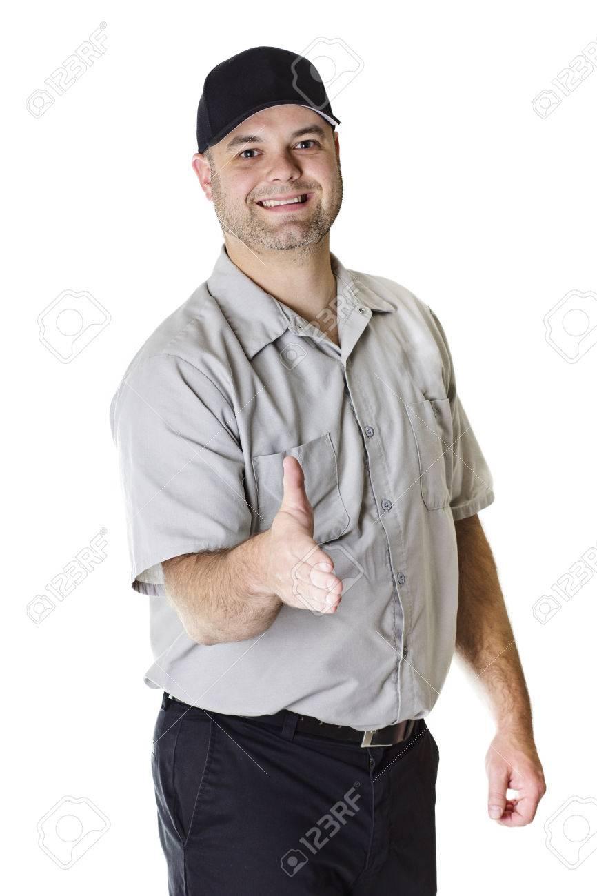 Friendly Car Mechanic ready to shake hands Stock Photo - 24385614