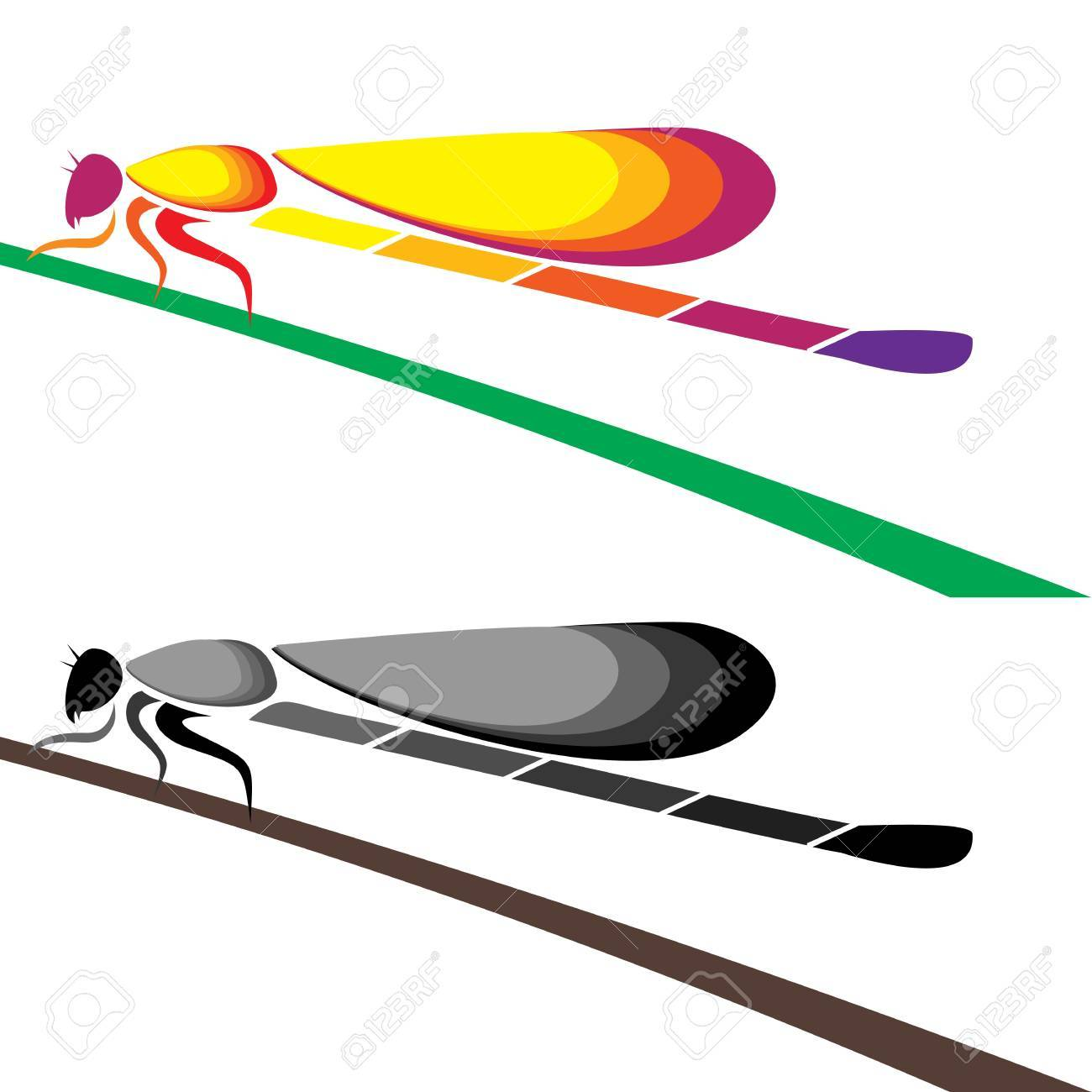 Dragonfly perched on a leaf - Illustrations Stock Vector - 16158343