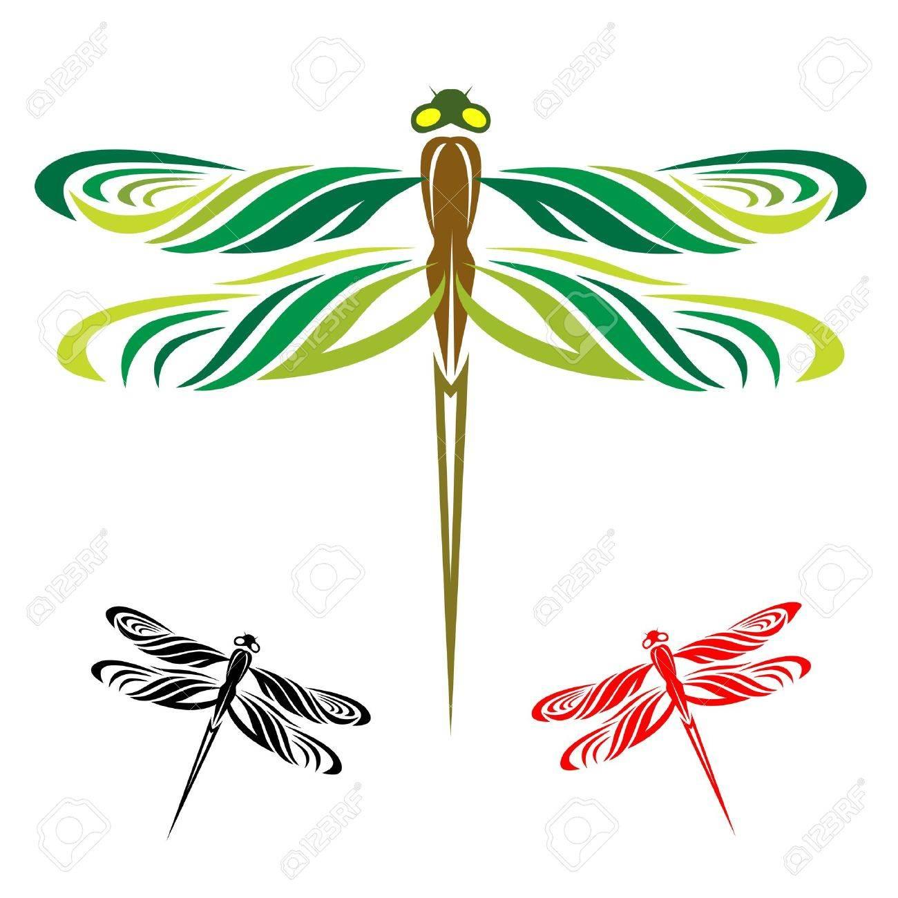 16158345-Les-libellules-sont-trois-ailes-sur-un-fond-blanc-Banque-d'images.jpg