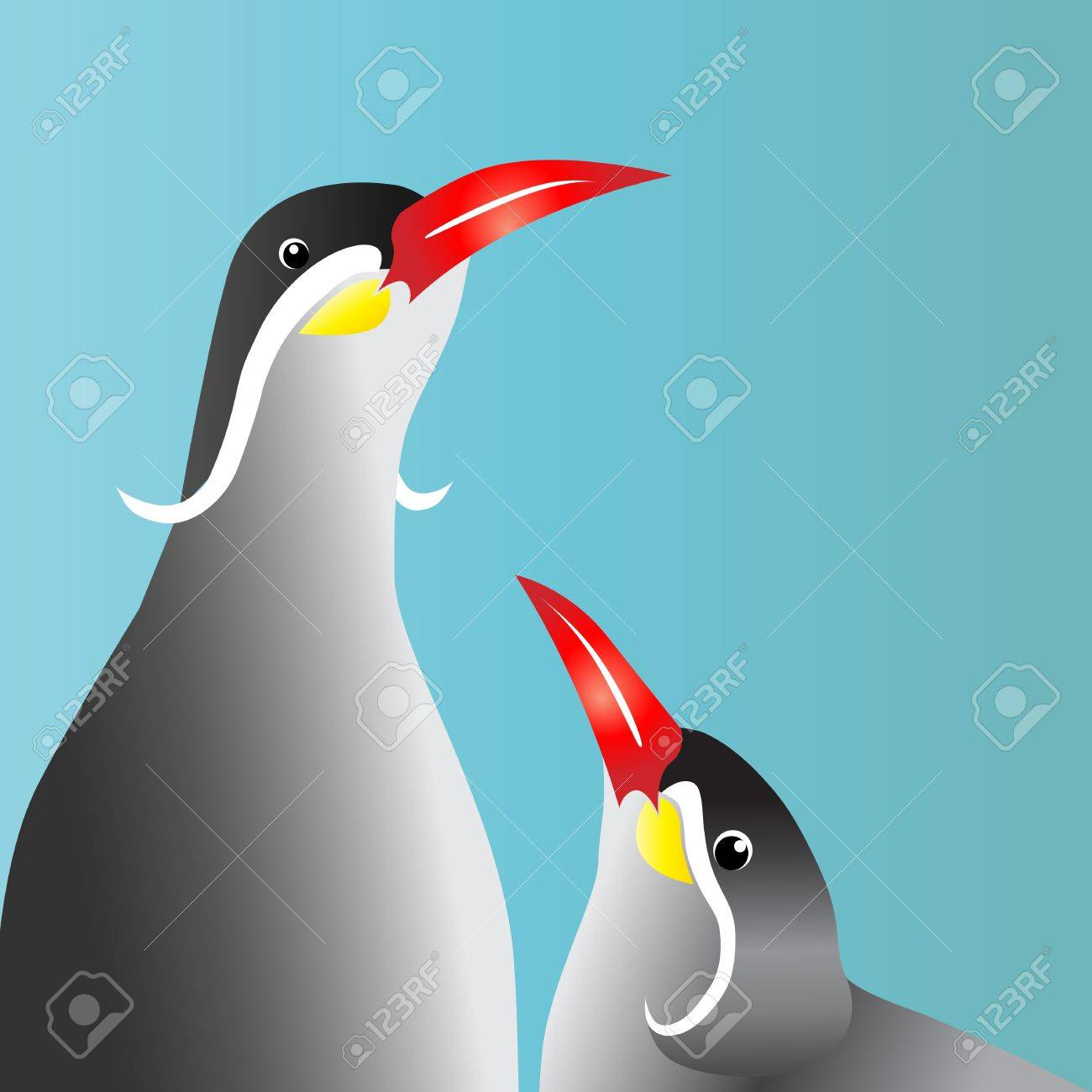 Birds on a blue background with a red lip Stock Vector - 16361715