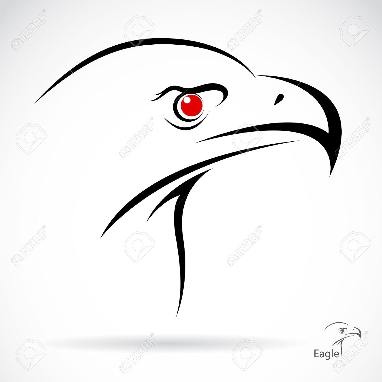 Head of an eagle in the form of the stylized tattoo Stock Vector - 19137741