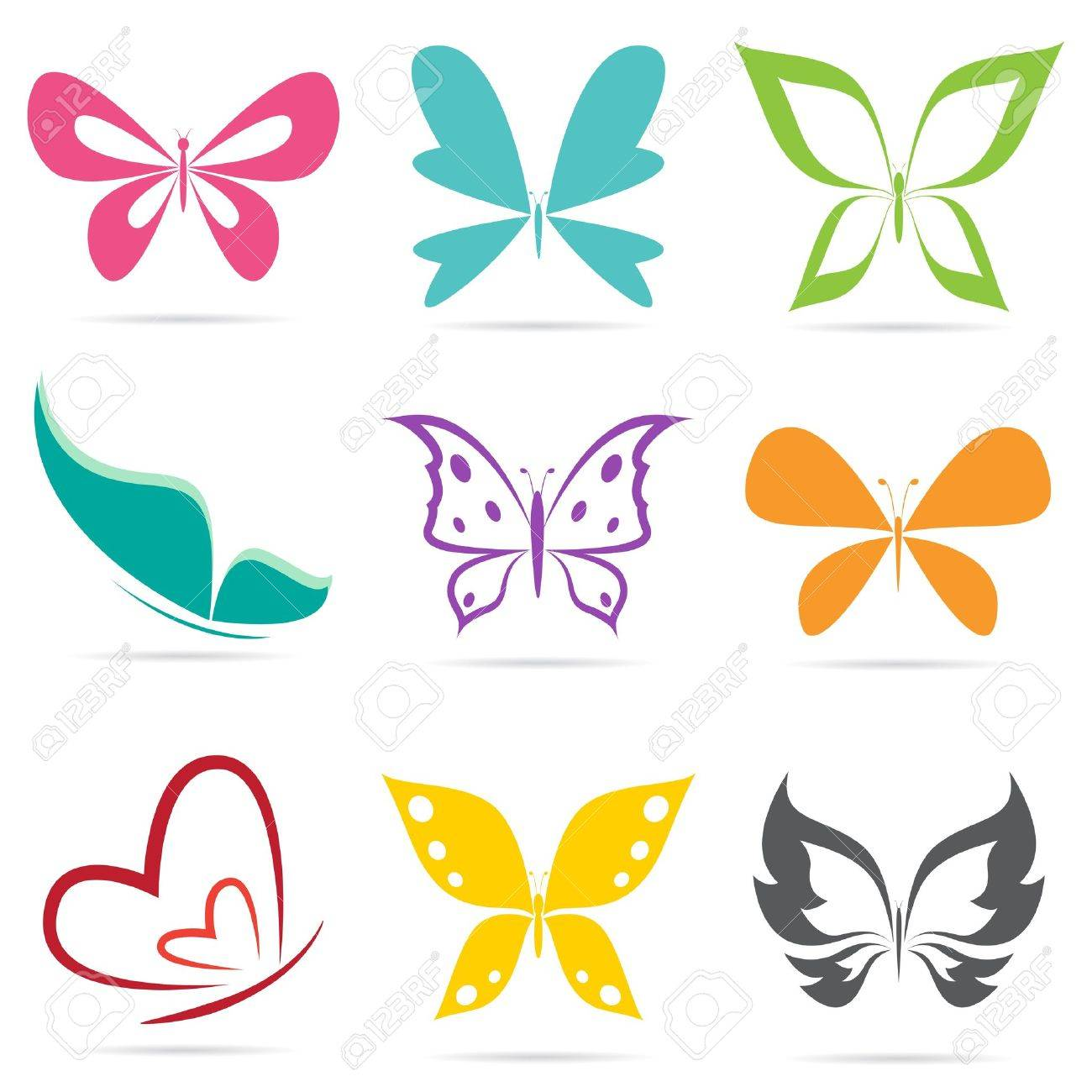 group of butterflies on white background royalty free cliparts