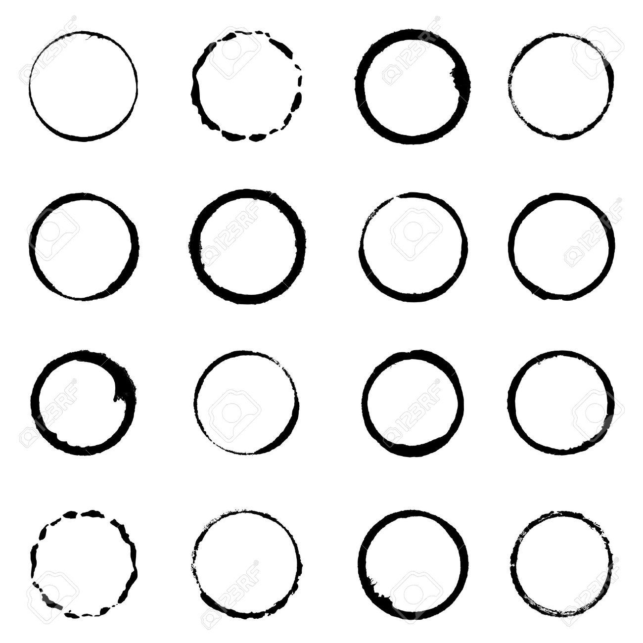set grunge circle brush strokes for frames Stock Vector - 21294458