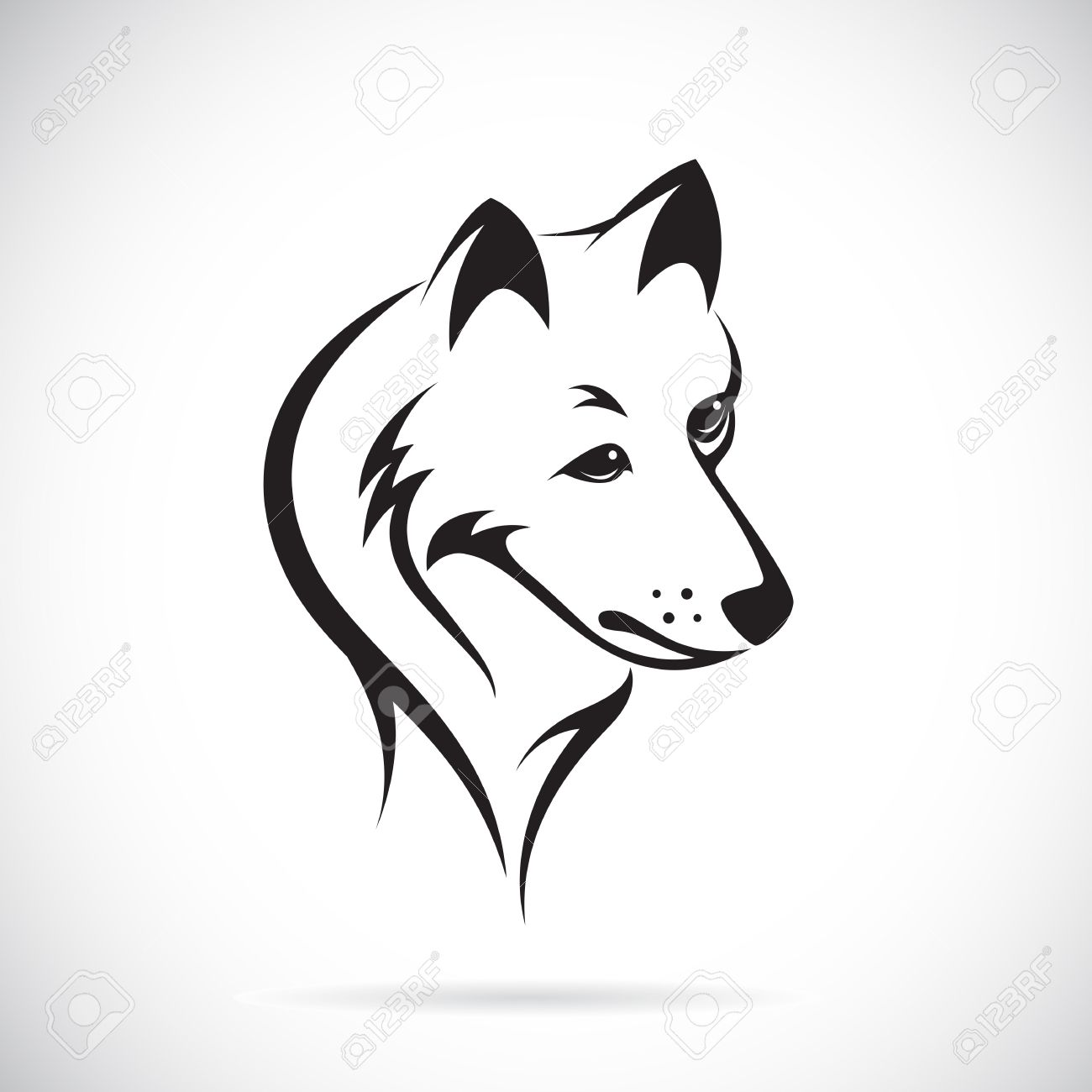 Black And White Sketch Fox: Vector Images Of Wolf Head On A White Background
