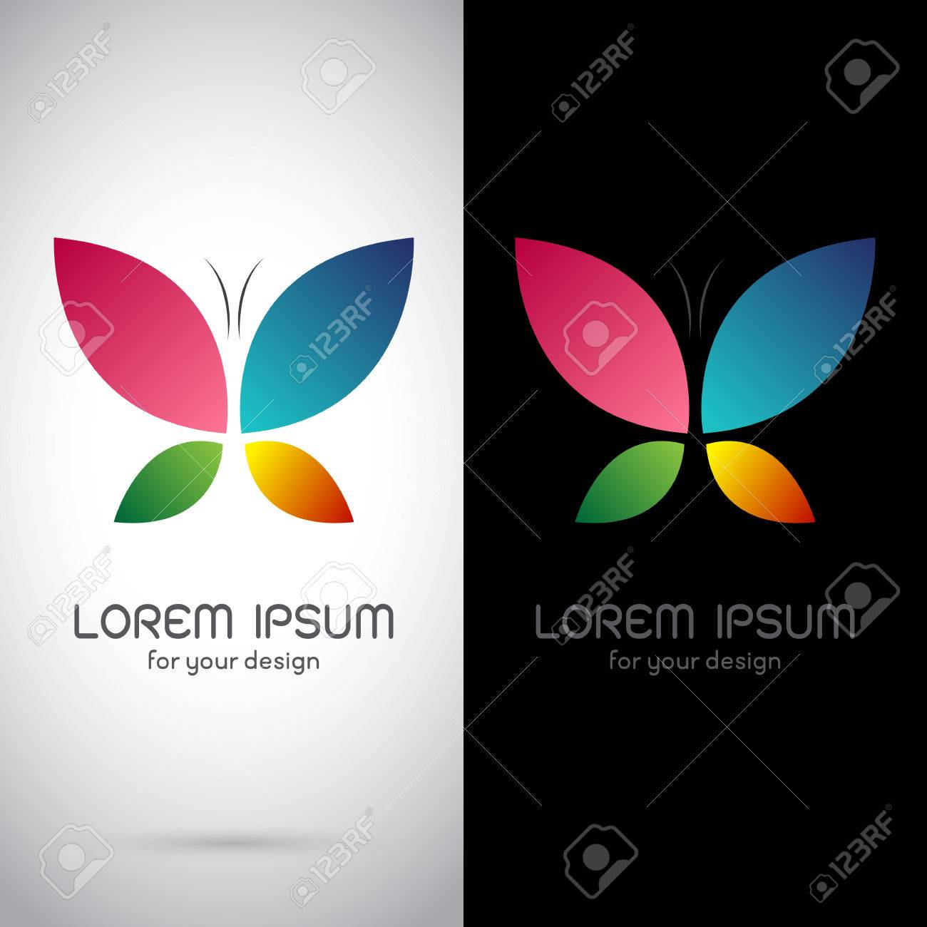 Vector image of an butterfly design on black background and white vector image of an butterfly design on black background and white background logo symbol biocorpaavc Images