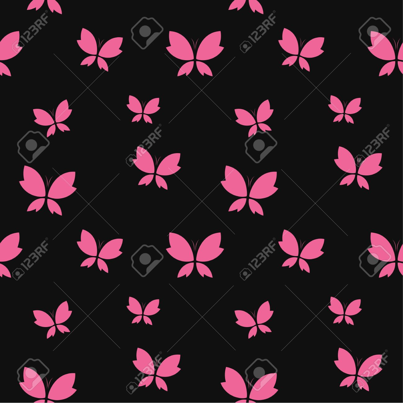 Vector Seamless Pattern With Pink Butterfly On Black Background