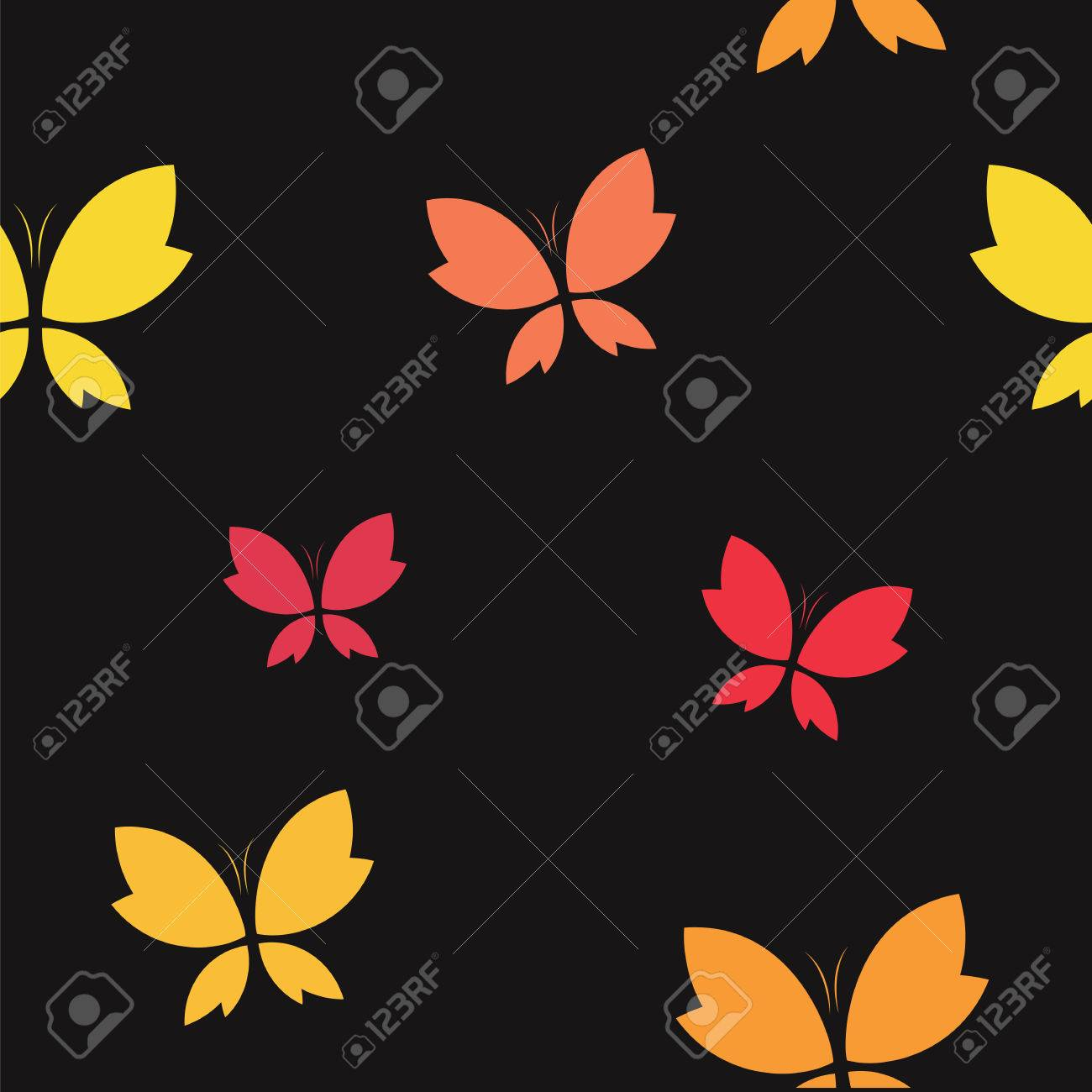 Vector Seamless Pattern With Butterfly On Black Background Wallpaper Royalty Free Cliparts Vectors And Stock Illustration Image 49897036