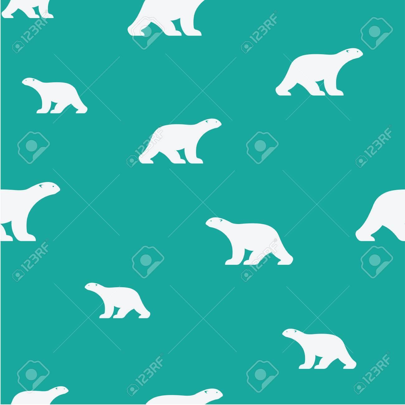 青の背景にクマとシームレスなパターンをベクトル 壁紙のイラスト素材 ベクタ Image