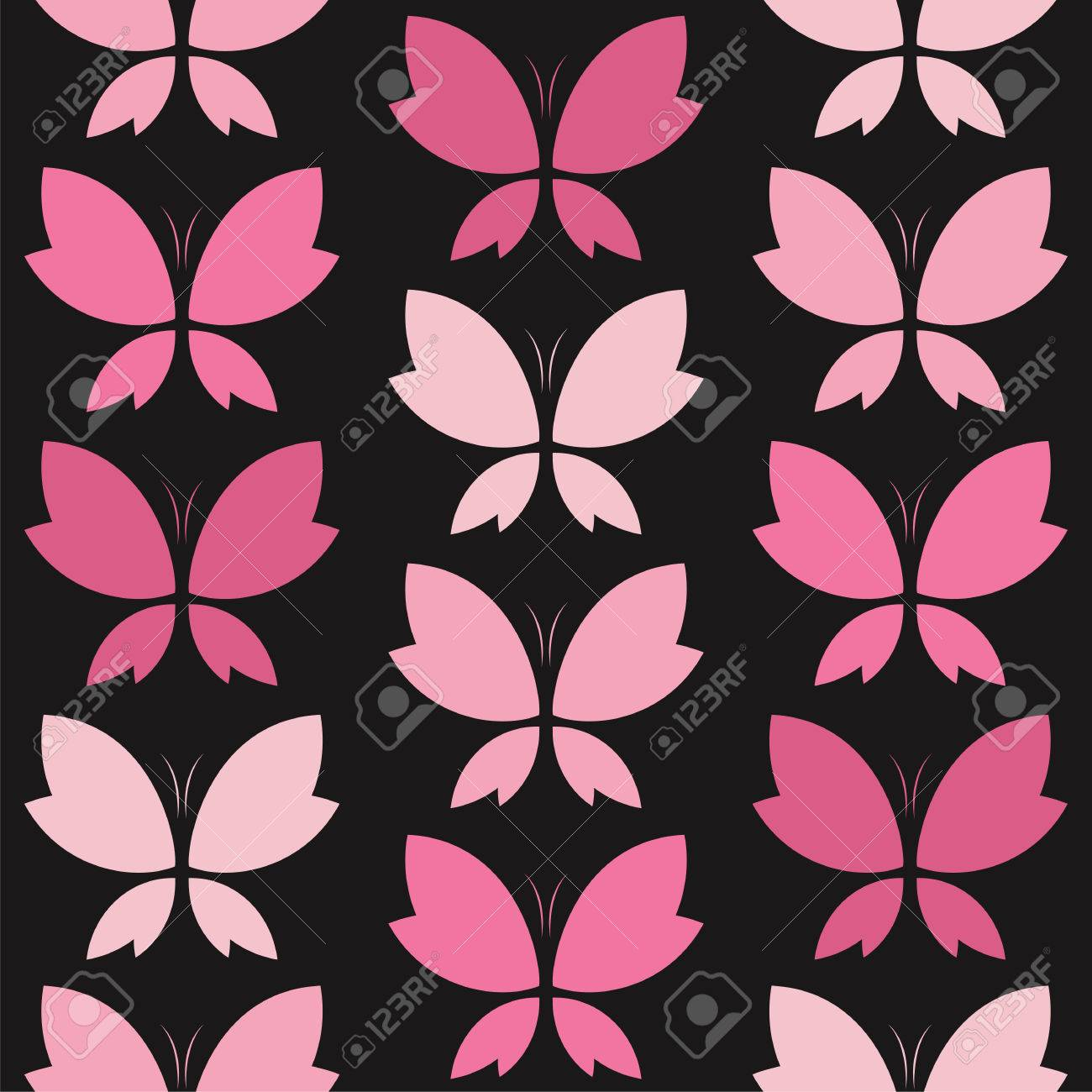 Vector Seamless Pattern With Pink Butterfly On Black Background Royalty Free Cliparts Vectors And Stock Illustration Image 49897317