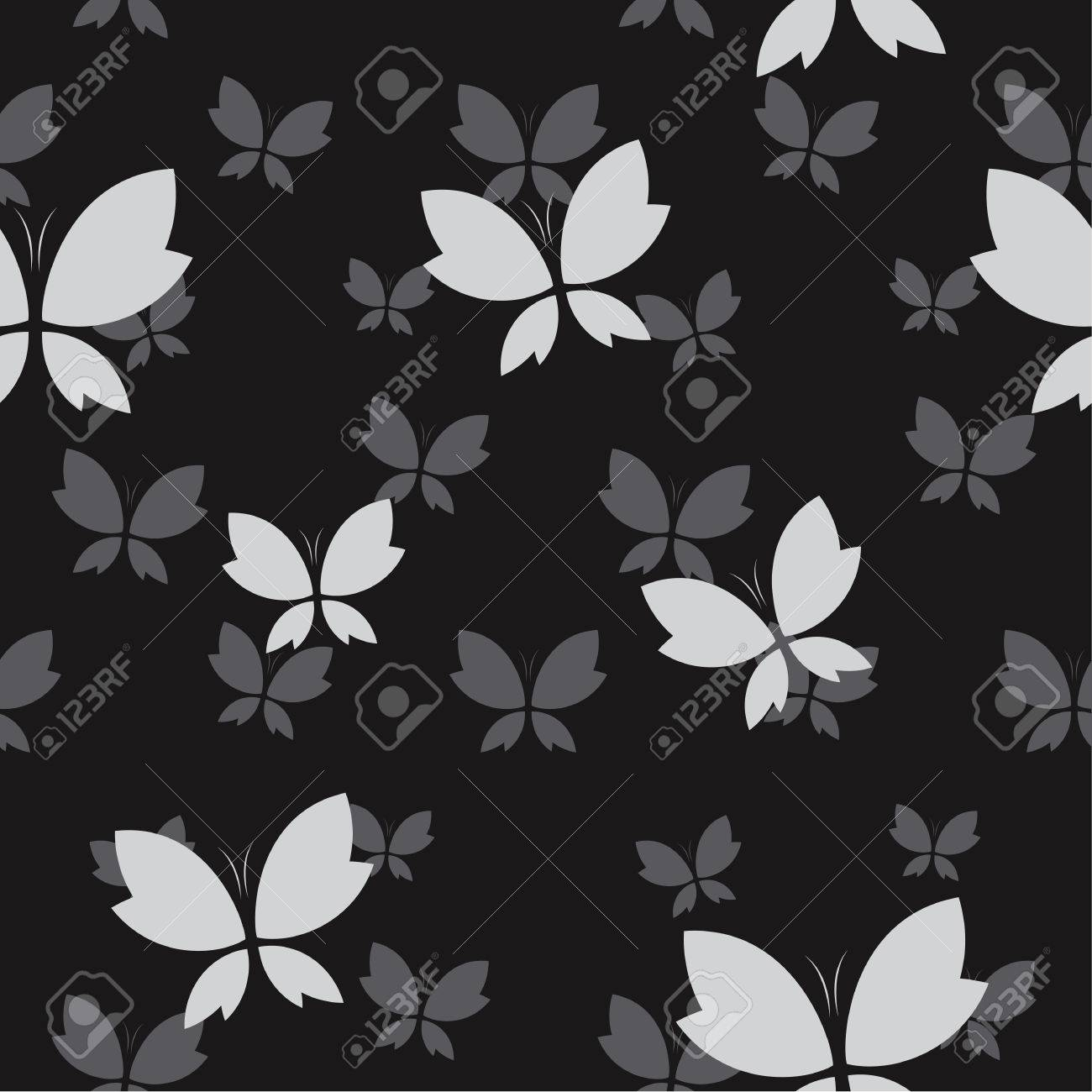 Vector Seamless Pattern With Gray Butterfly On Black Background
