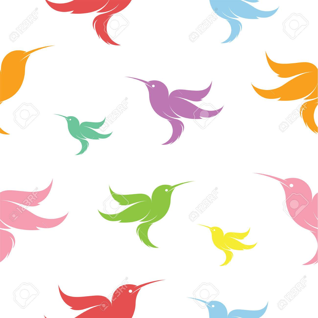 hummingbird vector art background design for fabric and decor