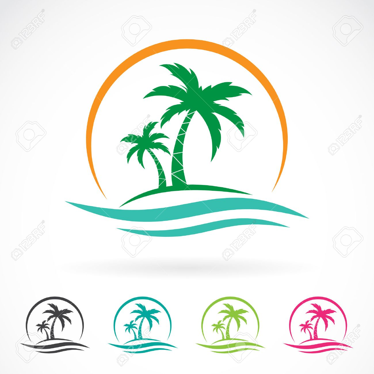 Vector image of an palm tropical tree icon on white background. logo design - 55619776