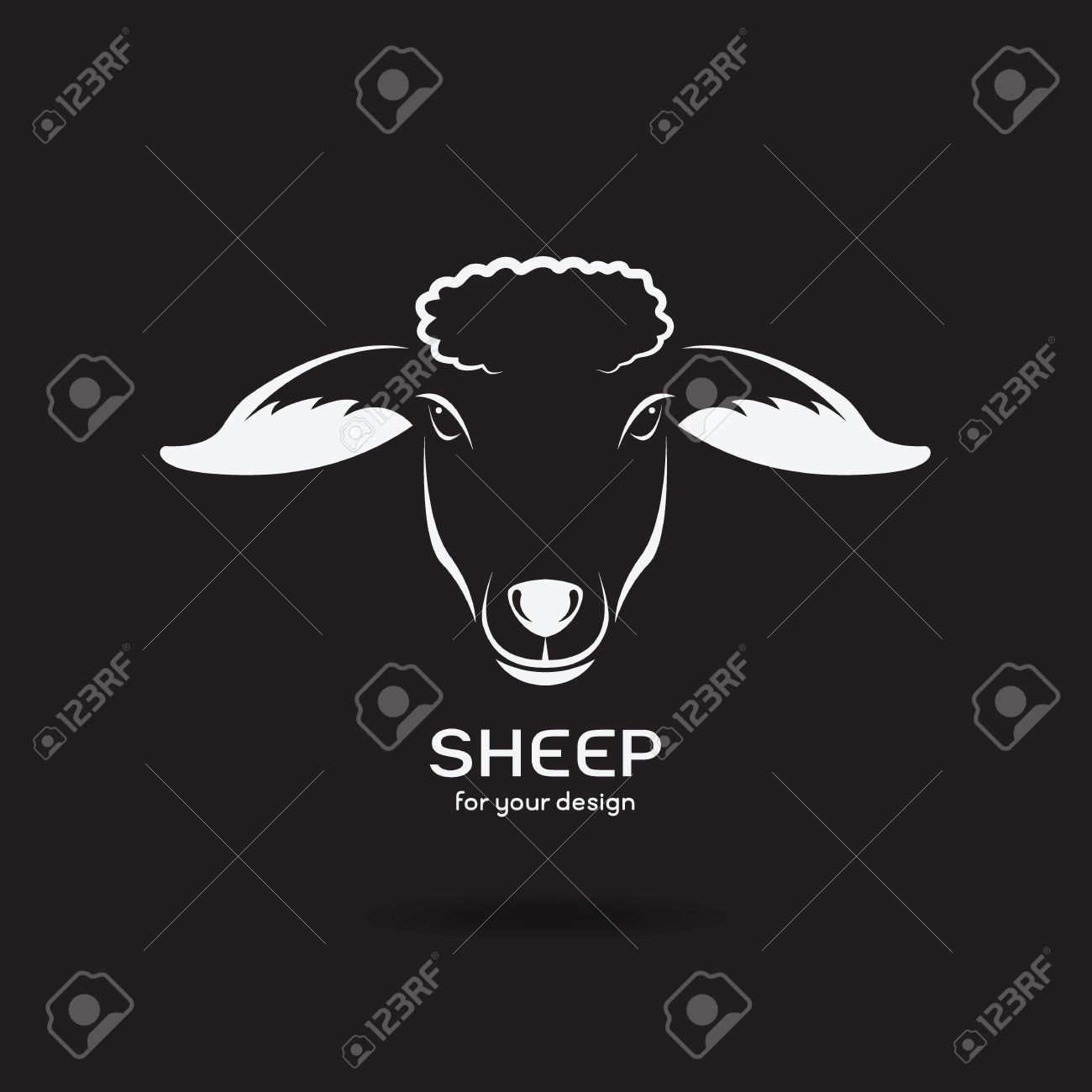 Vector Image Of A Sheep Head Design On Black Background Logo Farm
