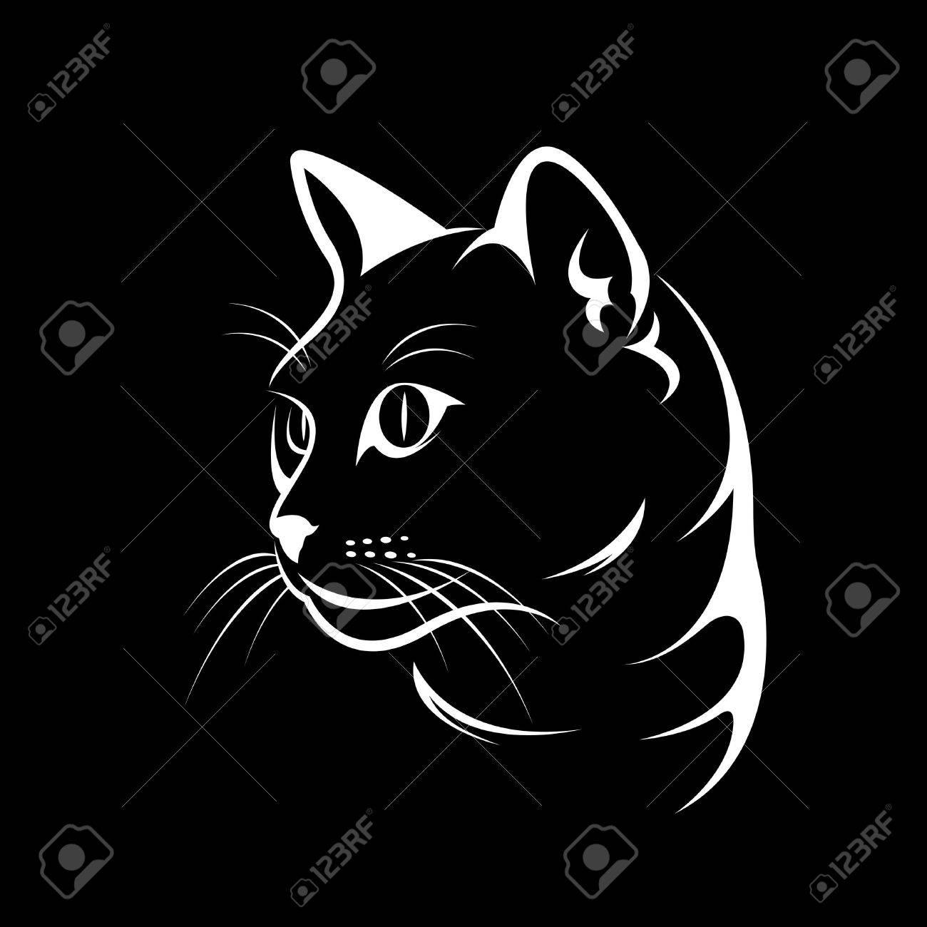 Vector of a cat face design on black background, Vector illustration. Pet - 72271121