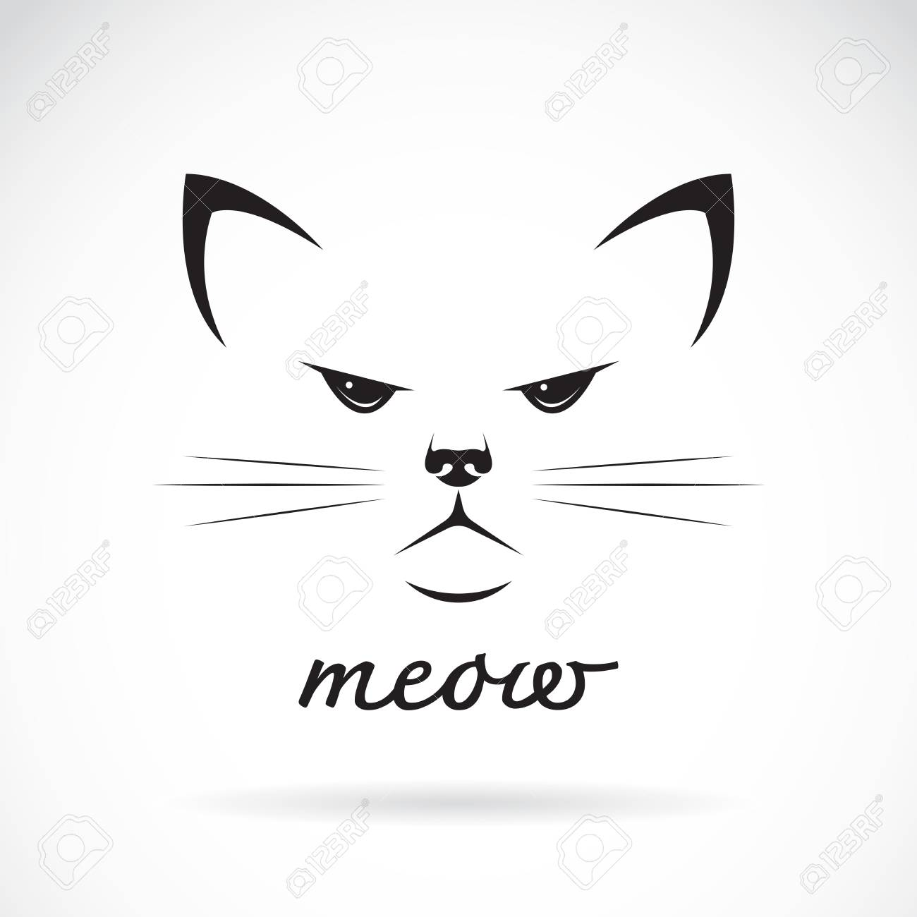 Vettoriale Vettore Di Un Disegno Del Volto Di Gatto Su Priorita