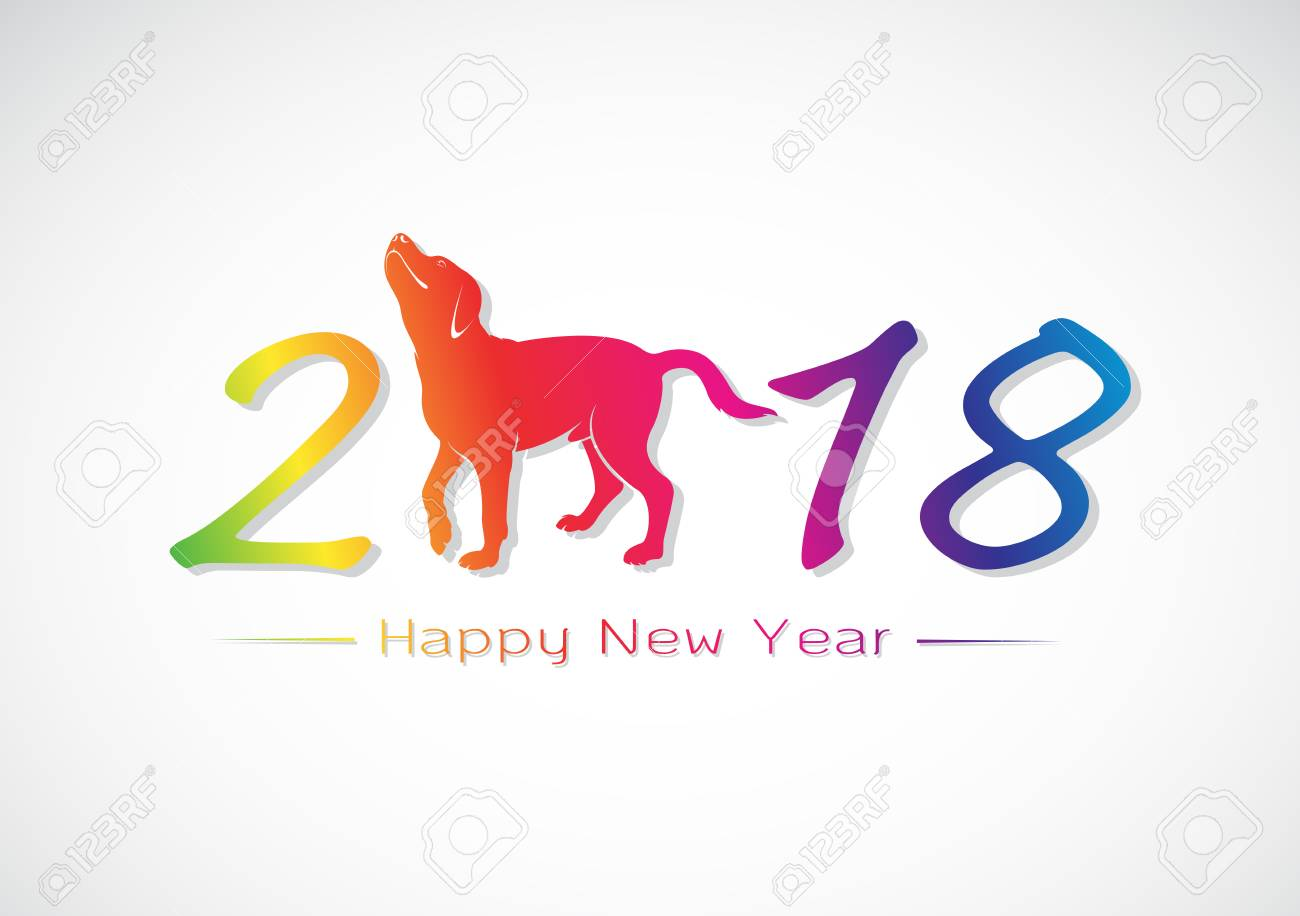 vector vector illustration of labrador dog 2018 new year card year of the dog design for greeting cards banners posters invitations easy editable