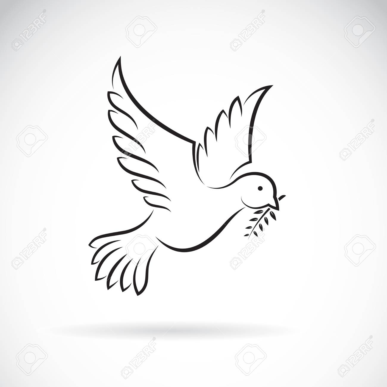 Vector Of Black Dove Of Peace With Olive Branch On White Background