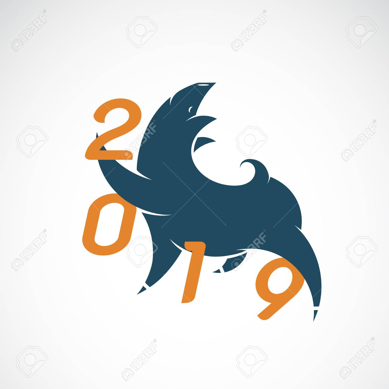 vector vector illustration of pig design 2019 new year card year of the pig design for greeting cards banners posters invitations easy editable