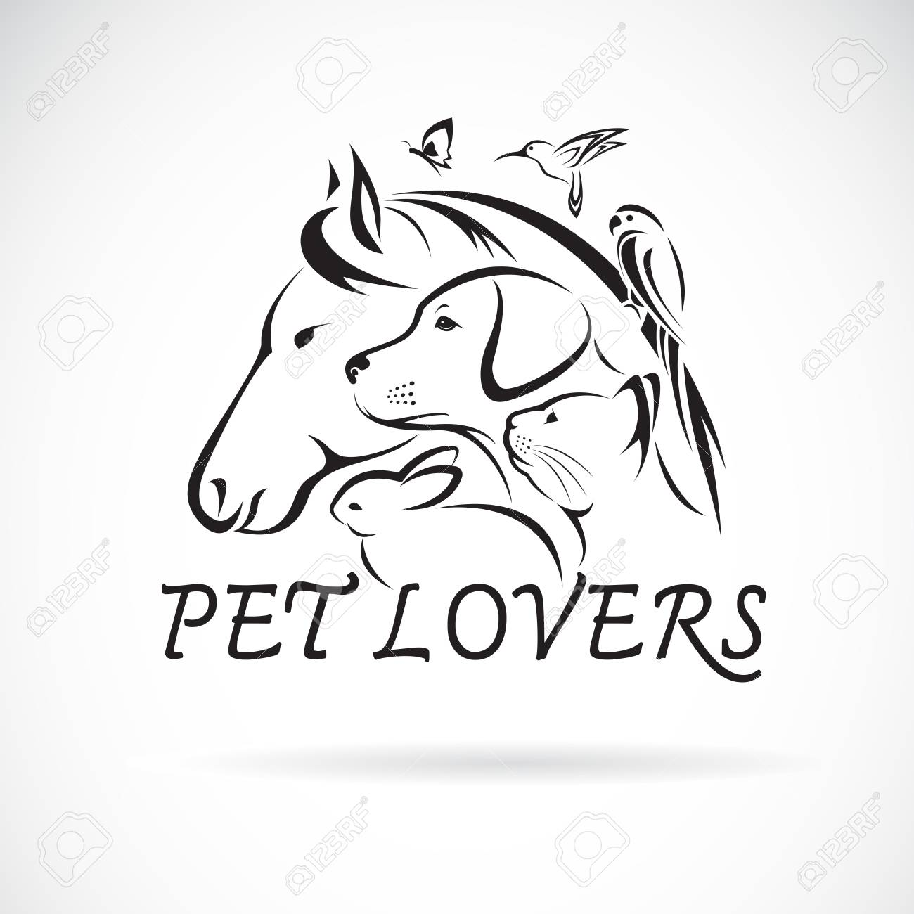 Vector Group Of Pets Horse Dog Cat Humming Bird Parrot Butterfly Rabbit Isolated On White Background Pet Icon Or Logo Easy Editable Layered Vector Illustration Royalty Free Cliparts Vectors And Stock
