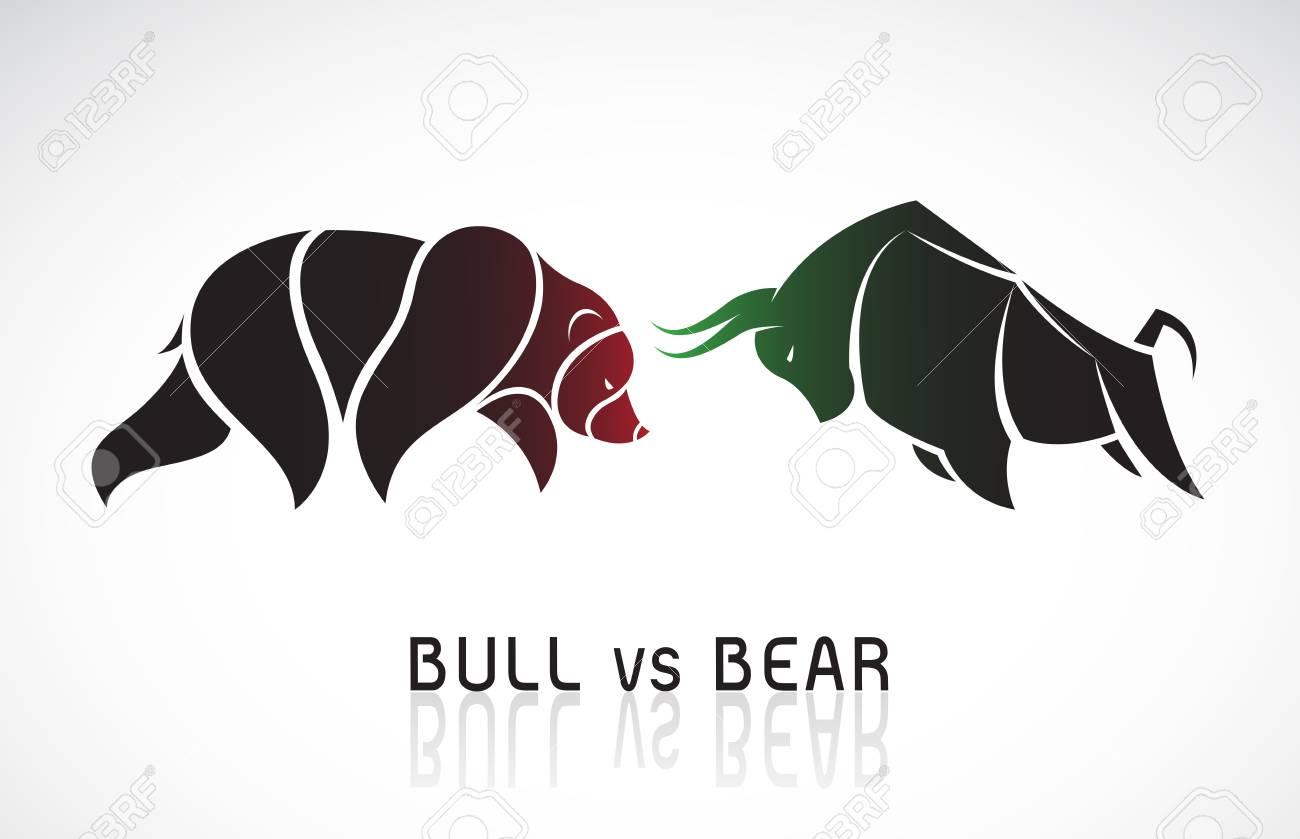 Bull and bear symbols of stock market trends. - 121638527