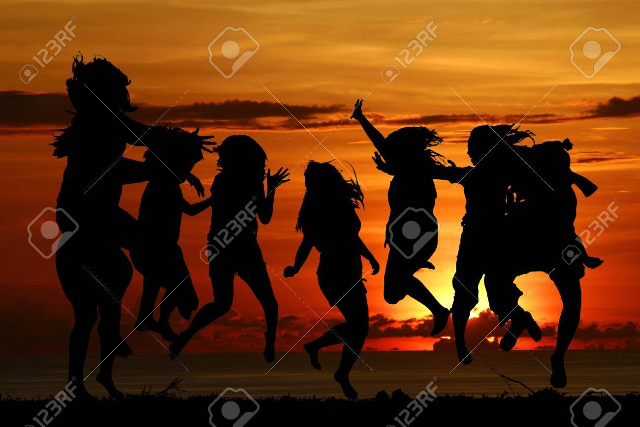 Funny girl gang with sunset Stock Photo - 9264424