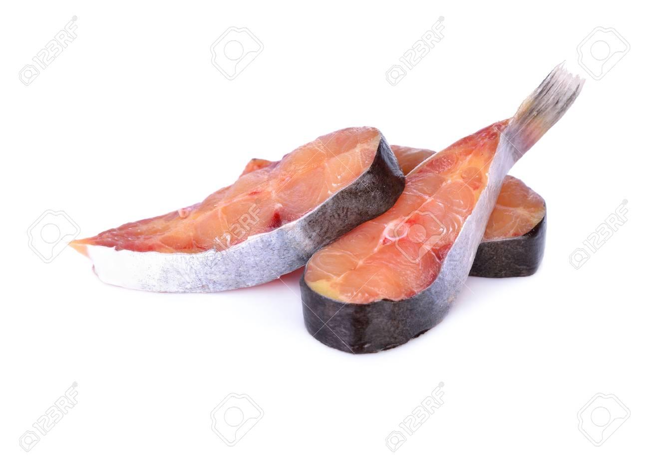 portion cut swai pangasius fish on white background