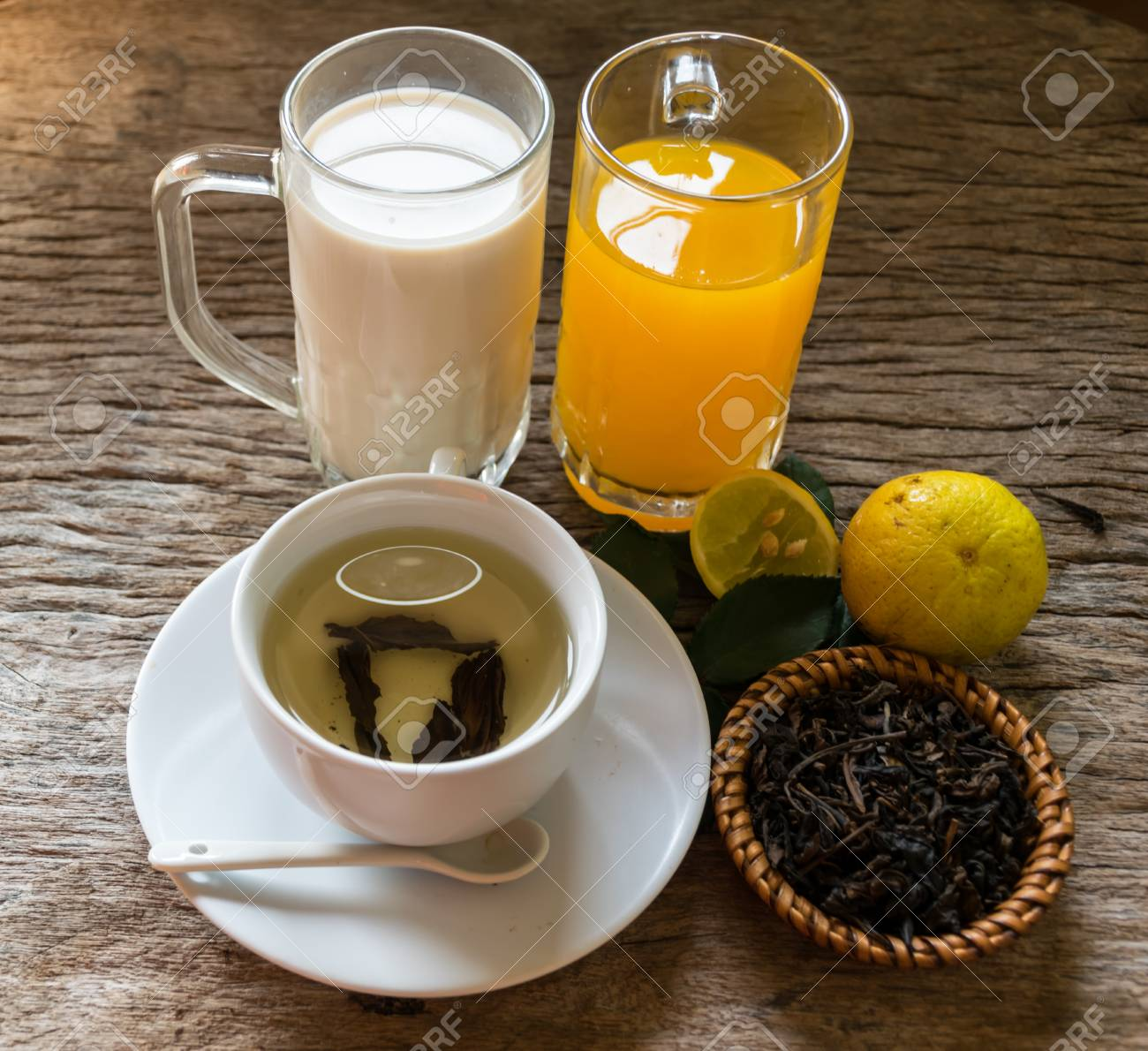 Healthy Menu In The Morning Orange Juice Milk And Tea Put On Stock Photo Picture And Royalty Free Image Image 96263220