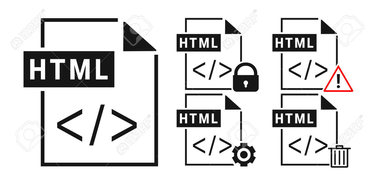 Set of HTML file document. Html icon in trendy flat style isolated on white background. Illustration vector - 170066278