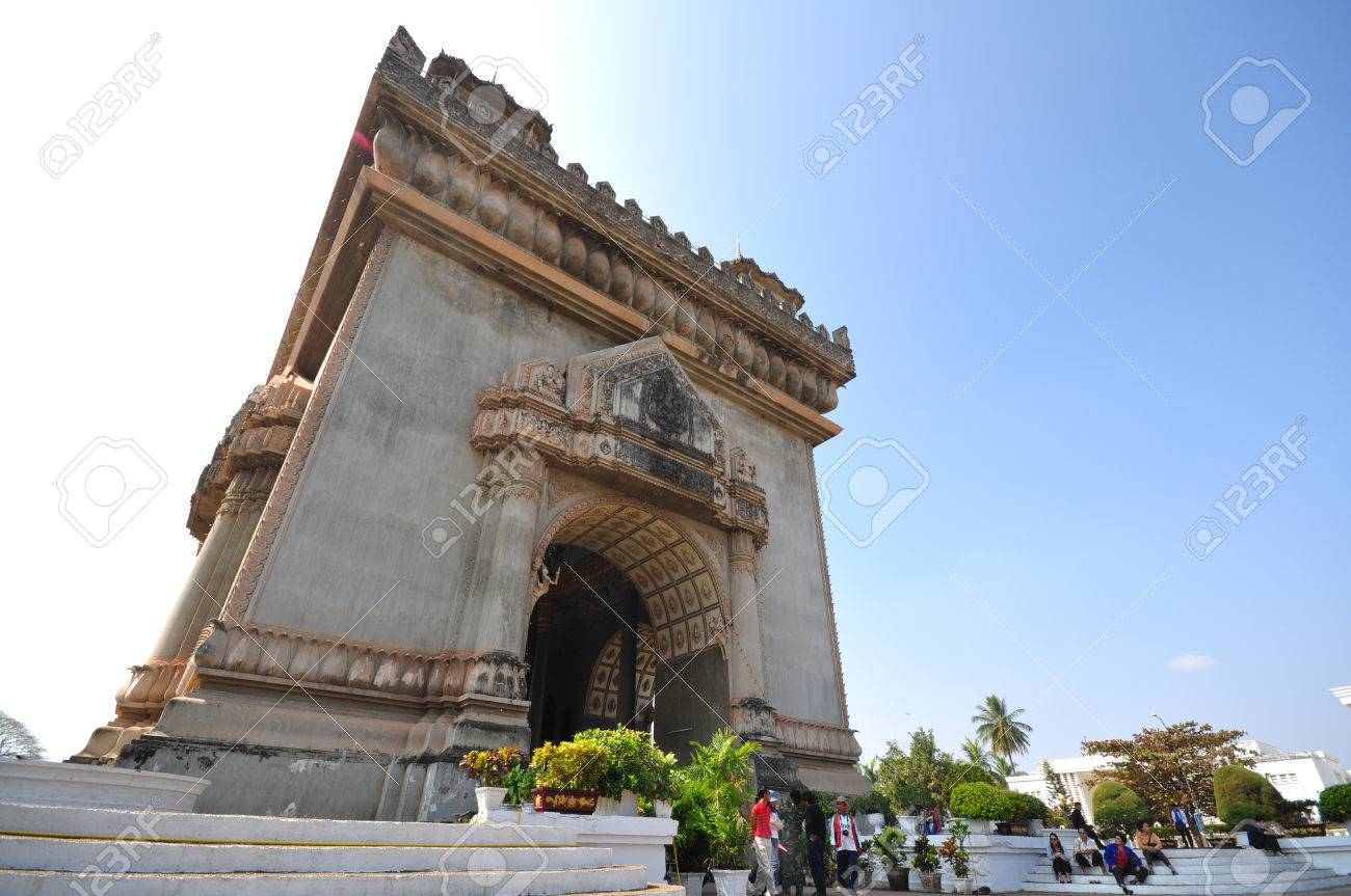 Stock Photo - the victory door building or Patuxai patuaxay in laos same like the L Arc De Triomphe of france & The Victory Door Building Or Patuxai Patuaxay In Laos Same Like ...