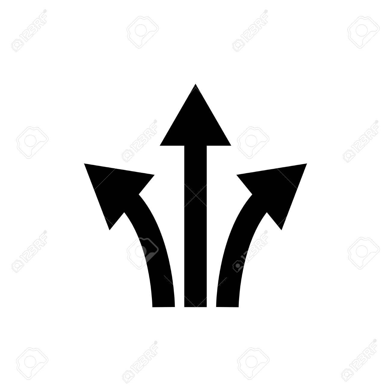 three way direction arrow sign.icon vector graphic design illustration - 145478912
