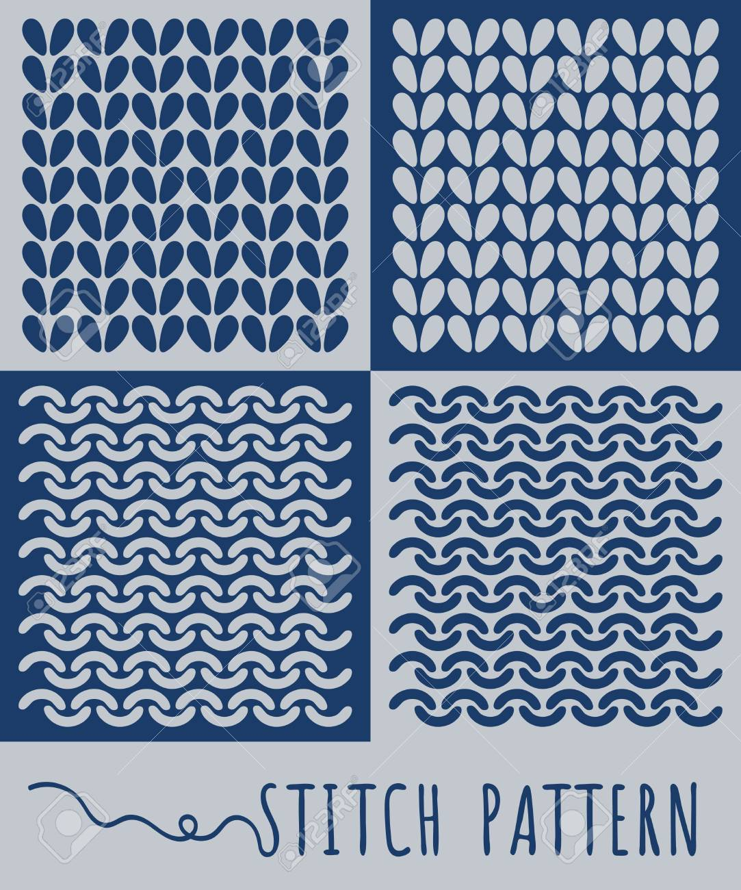 Knitting Stitch Pattern Set Royalty Free Cliparts, Vectors, And ...