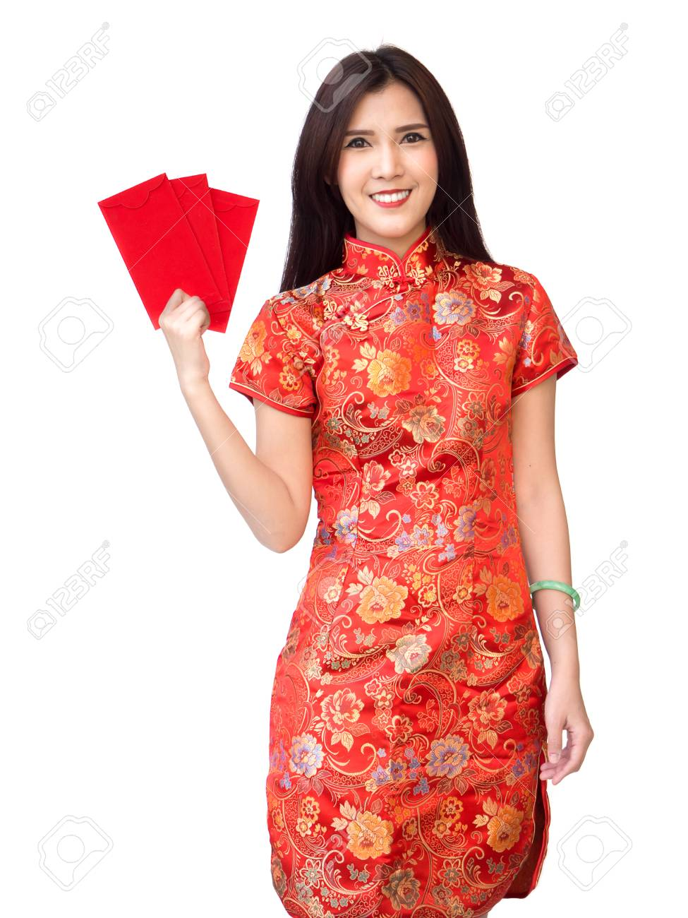 054672b31 Chinese new year woman concept, isolated asian woman wearing red dress  Cheongsam holding money gift