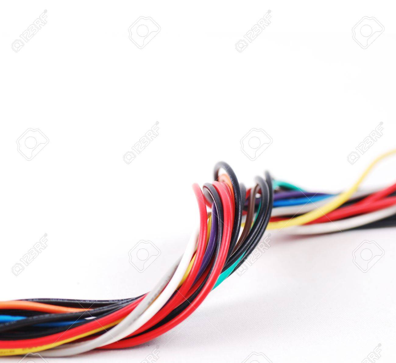 Electric Wires Isolated On White Background Stock Photo, Picture And ...