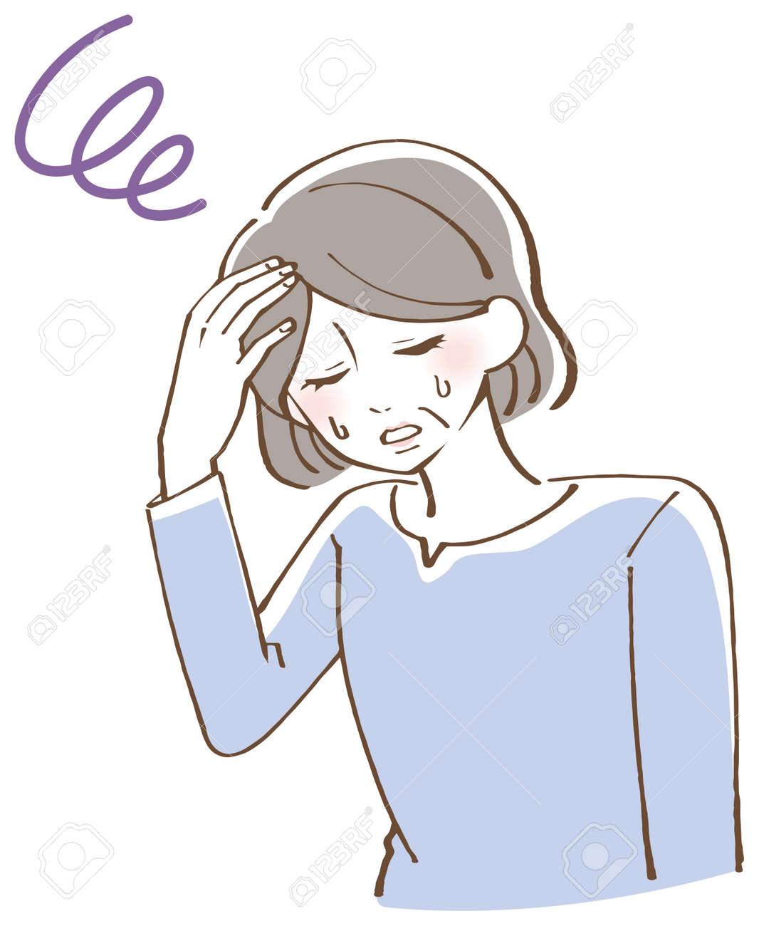 Anemia dizziness senior female illustration - 165227255