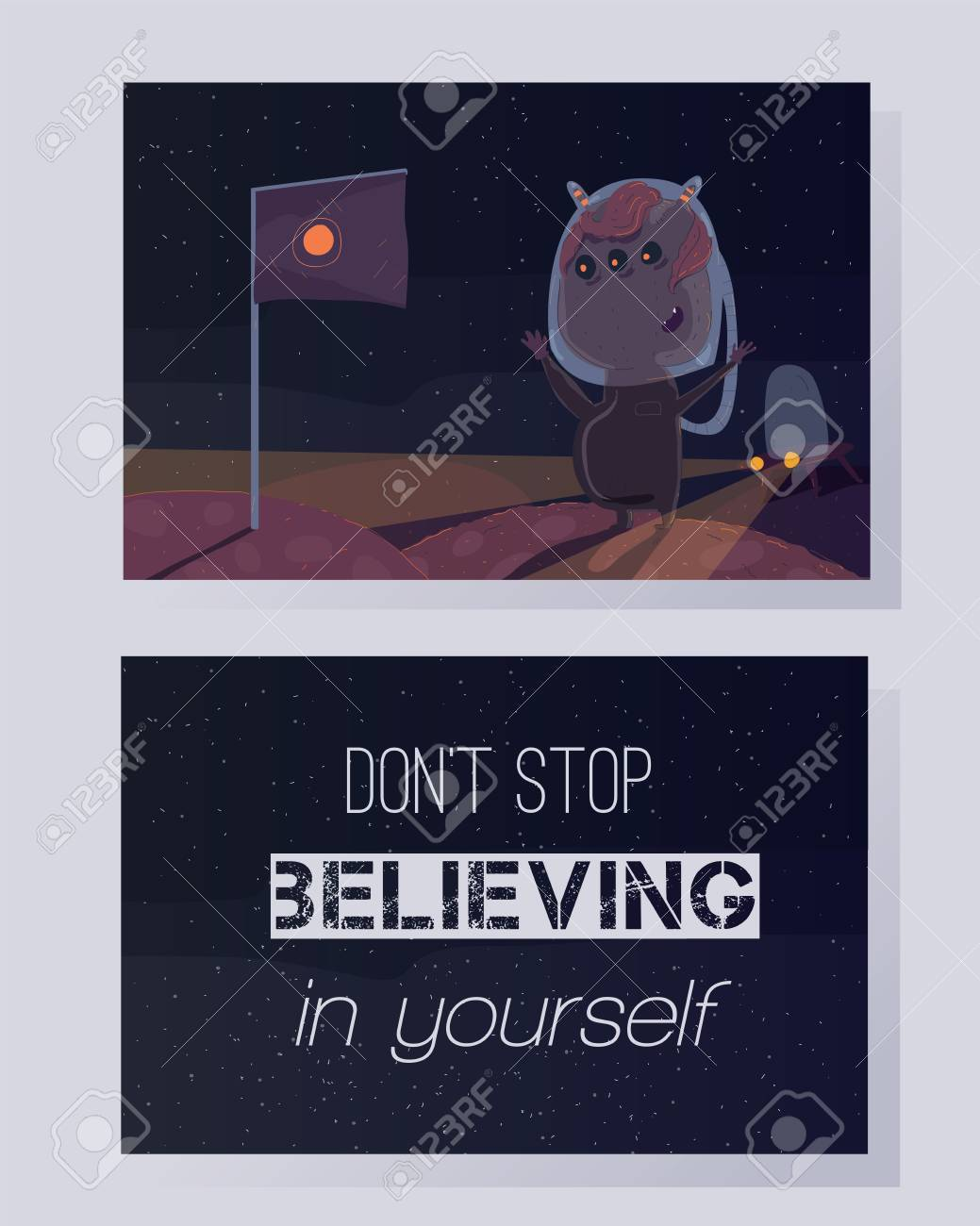 Donu0027t Stop Believing In Yourself. Motivating Quote On A Colorful Card. Space