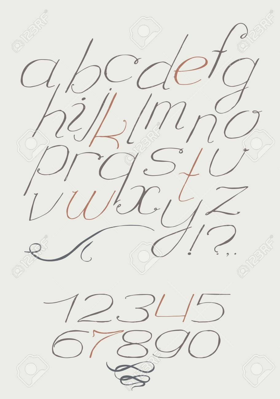 English Hand Drawn Italic Type Script From A To Z With Digits 0 9