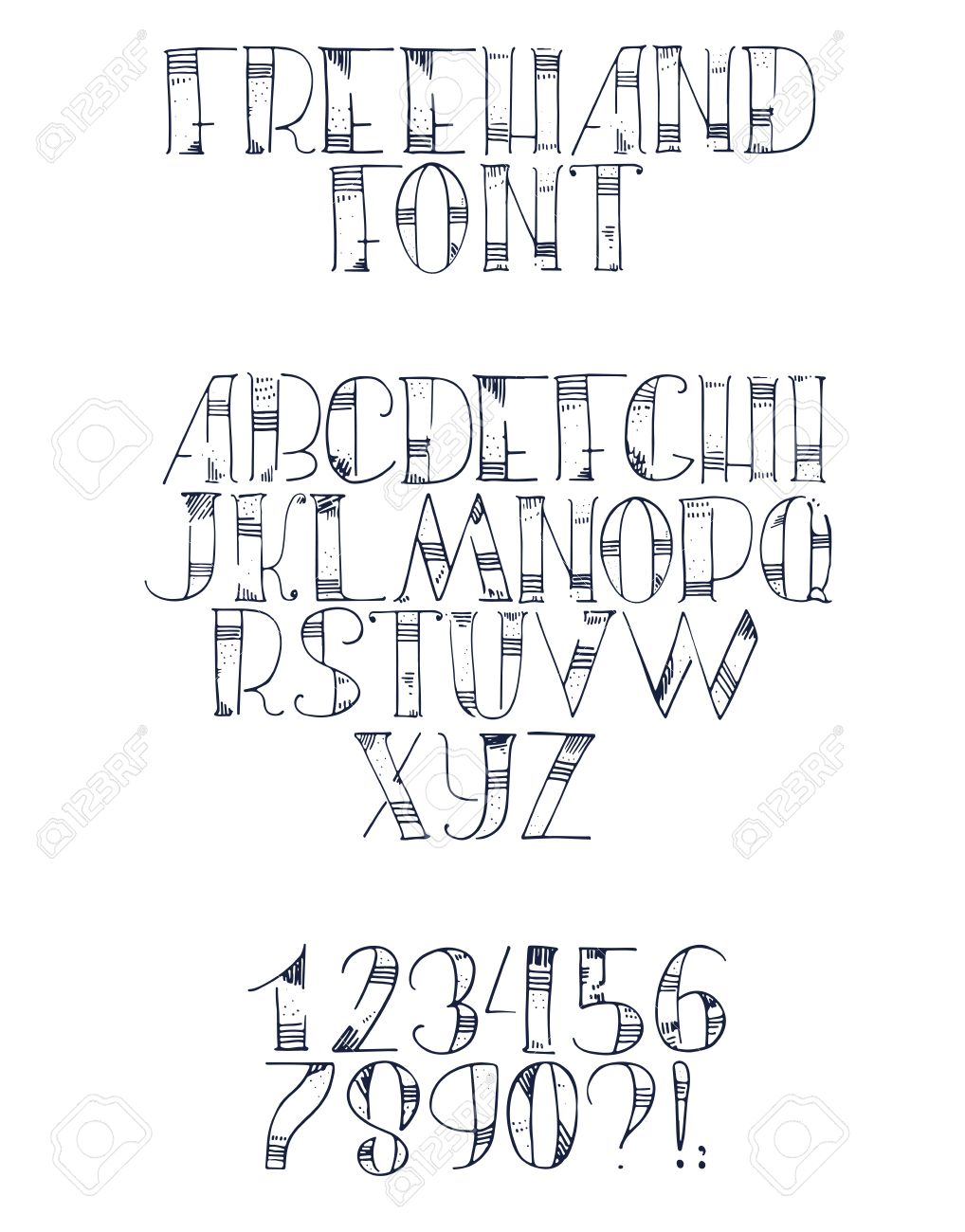 Freehand Hand Drawn Font With English Letters From A To Z Numbers 0