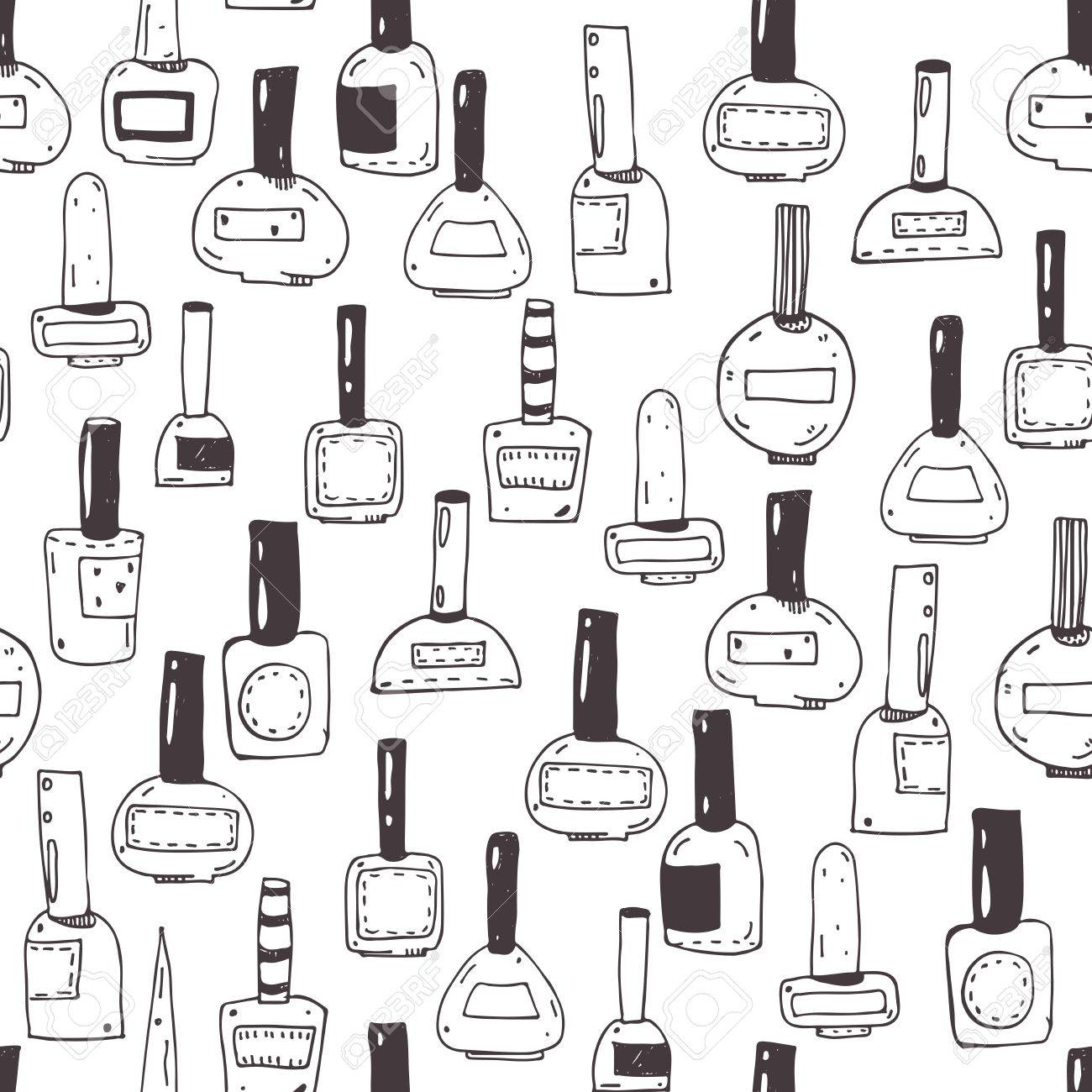 Seamless Vector Pattern With Nail Polish Bottles, Black And White ...