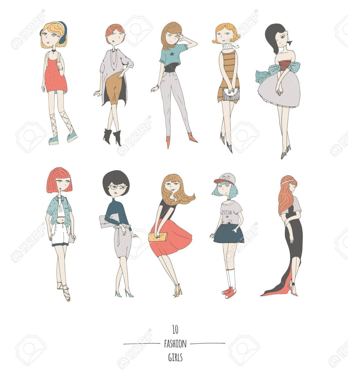 hand drawn set with cute fashion girls in dresses with different
