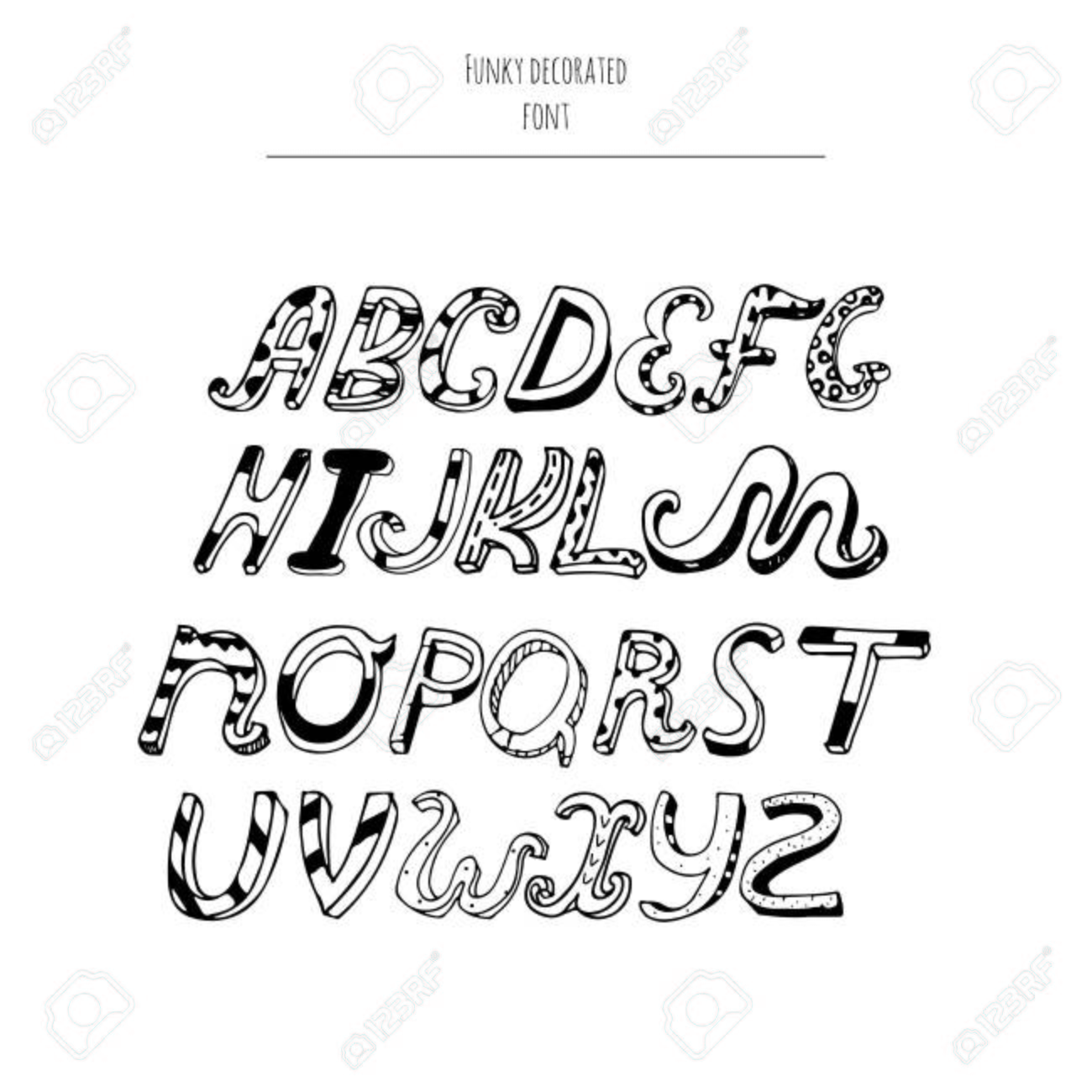 Vector Decorated Alphabet From A To Z In Cursive Style Hand