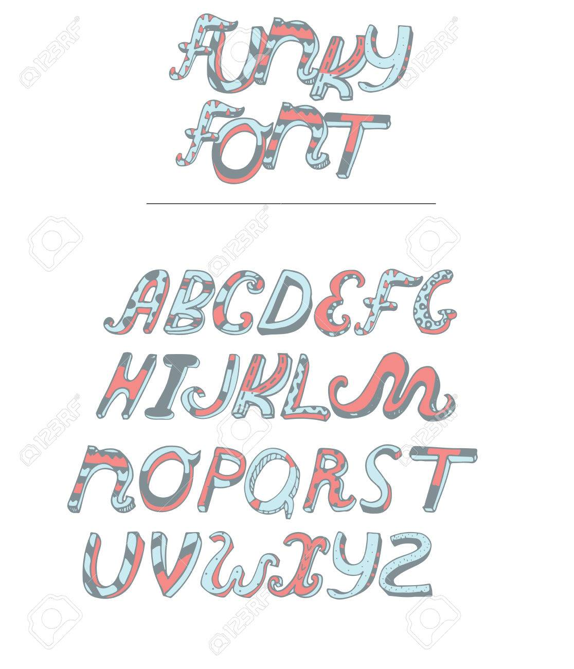 Vector Isolated On White Background Hand Drawn Alphabet From