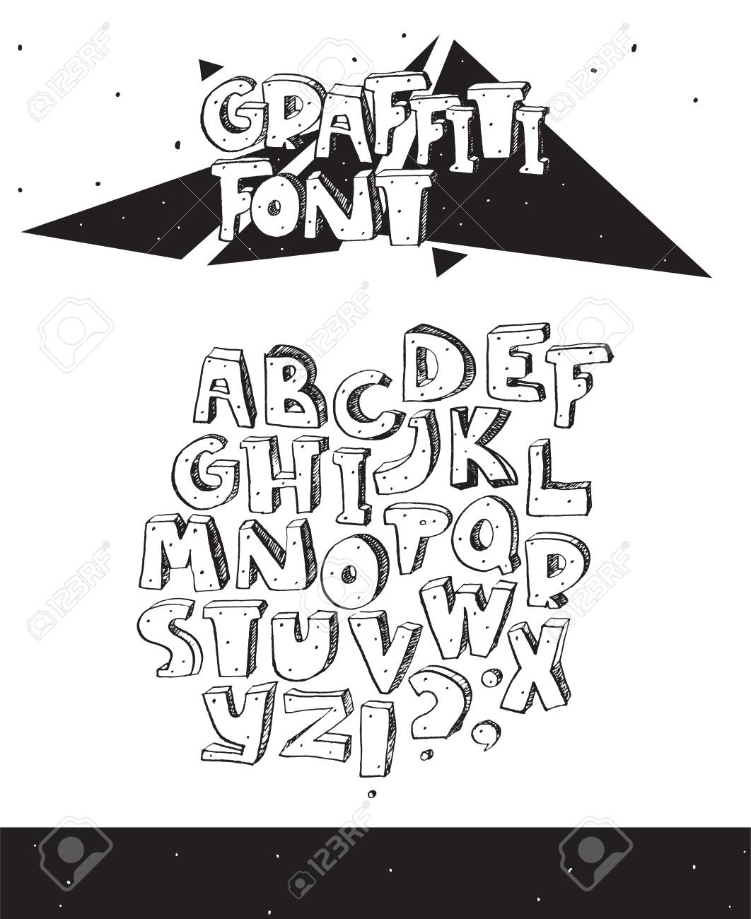 Vector vector hand drawn illustration with black and white imperfect graffiti font isolated on white 3d letters sequence from a to z with ink hatch and